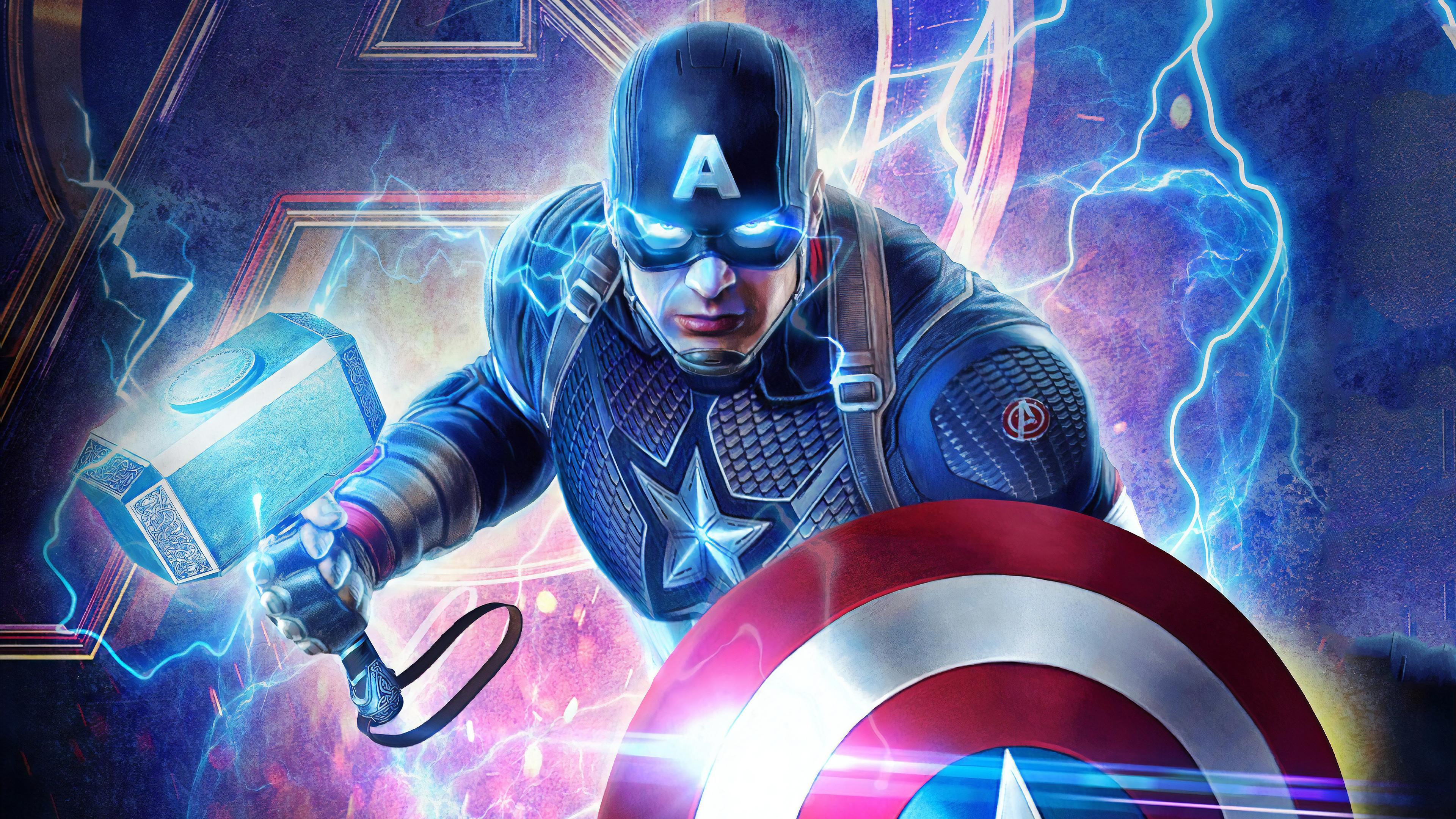 2019 Captain America Mjolnir Avengers Endgame 4k Hd
