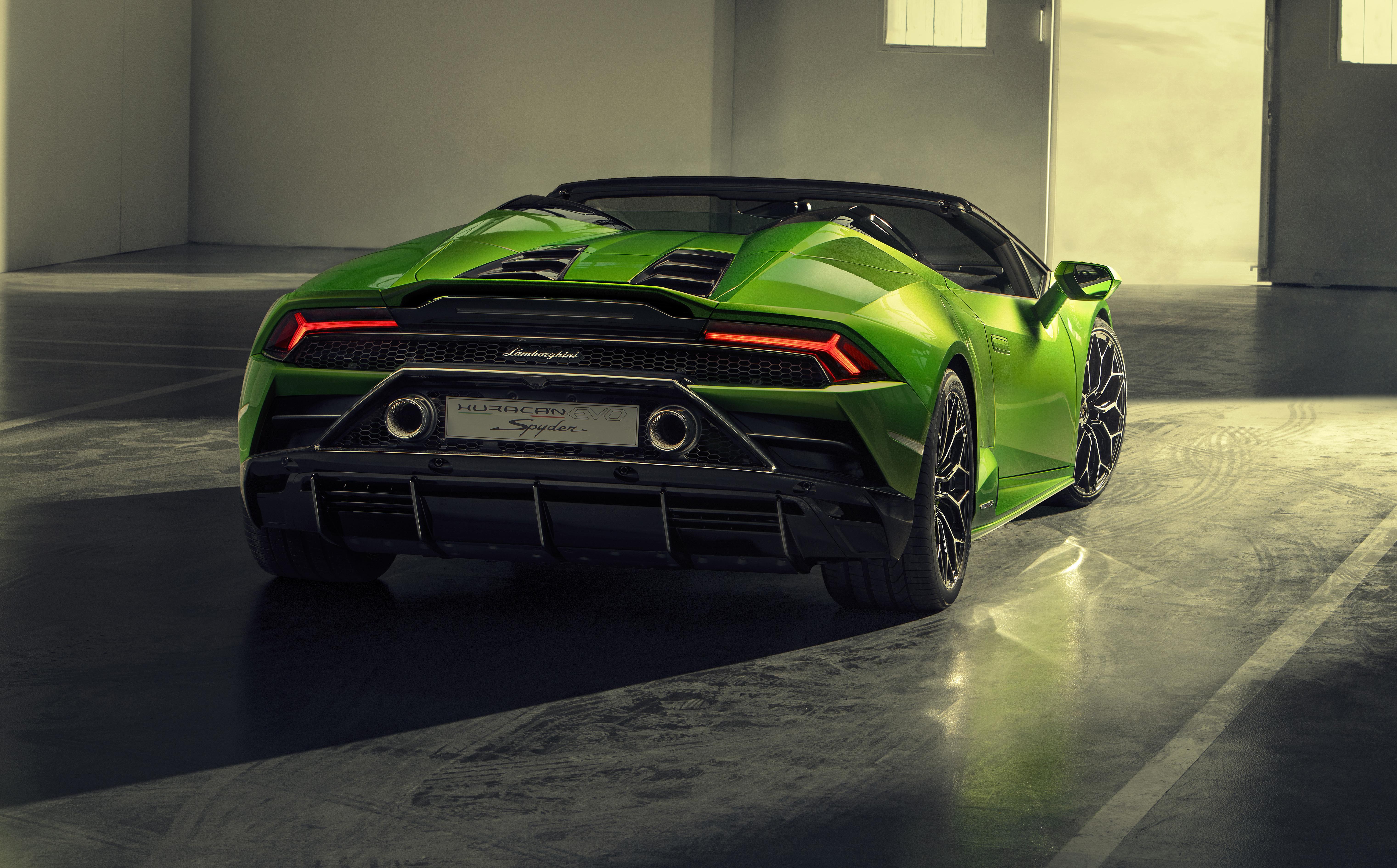 2019 Lamborghini Huracan Evo Spyder Rear View 5k, HD Cars