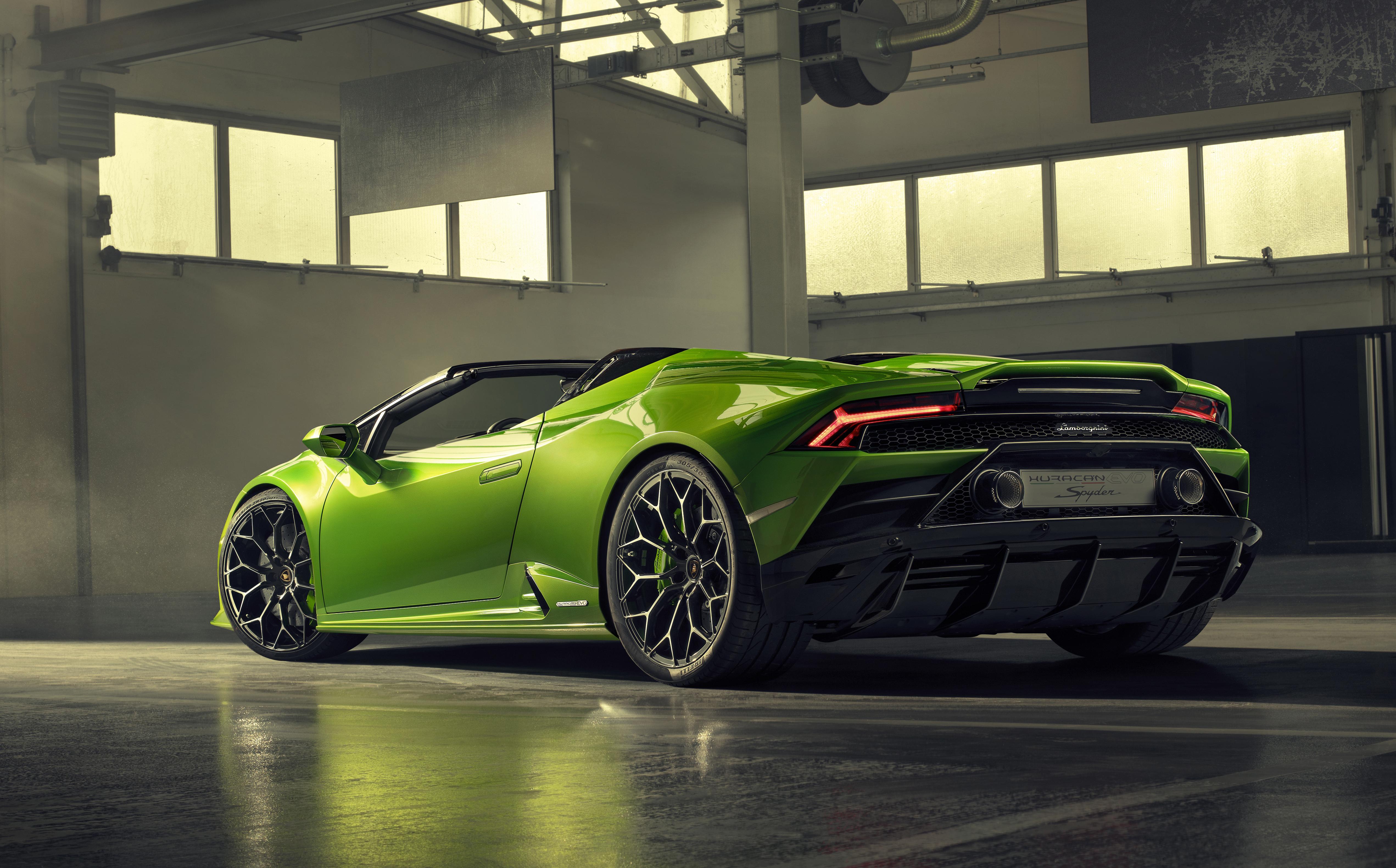 2019 Lamborghini Huracan Evo Spyder Rear View Hd Cars 4k