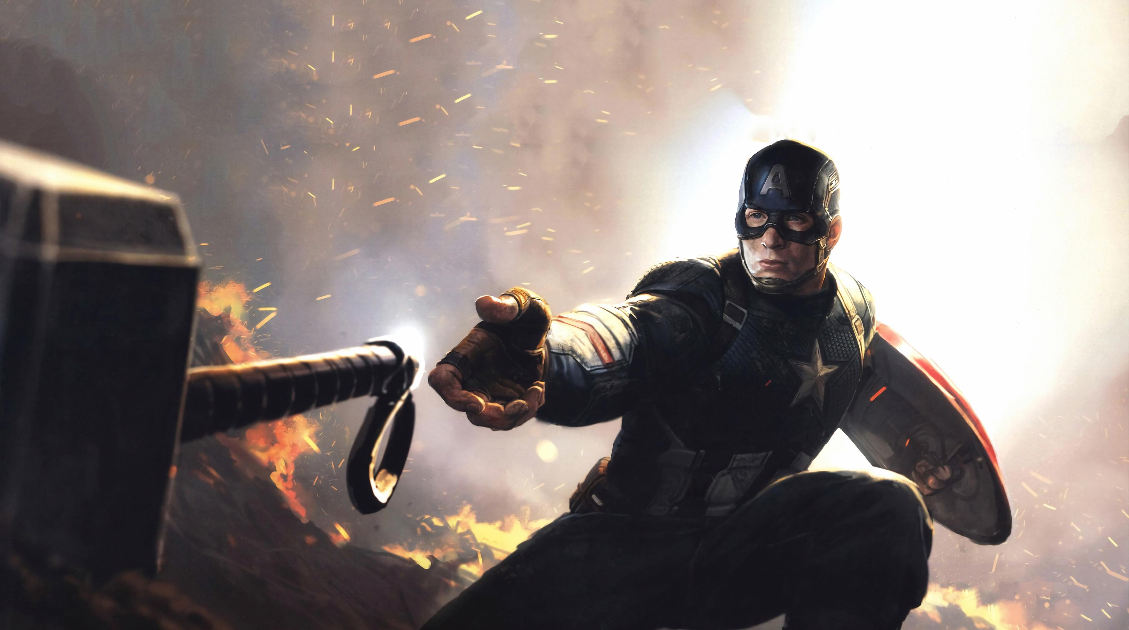 4k Captain America Mjolnir Avengers Endgame 2019, HD ...