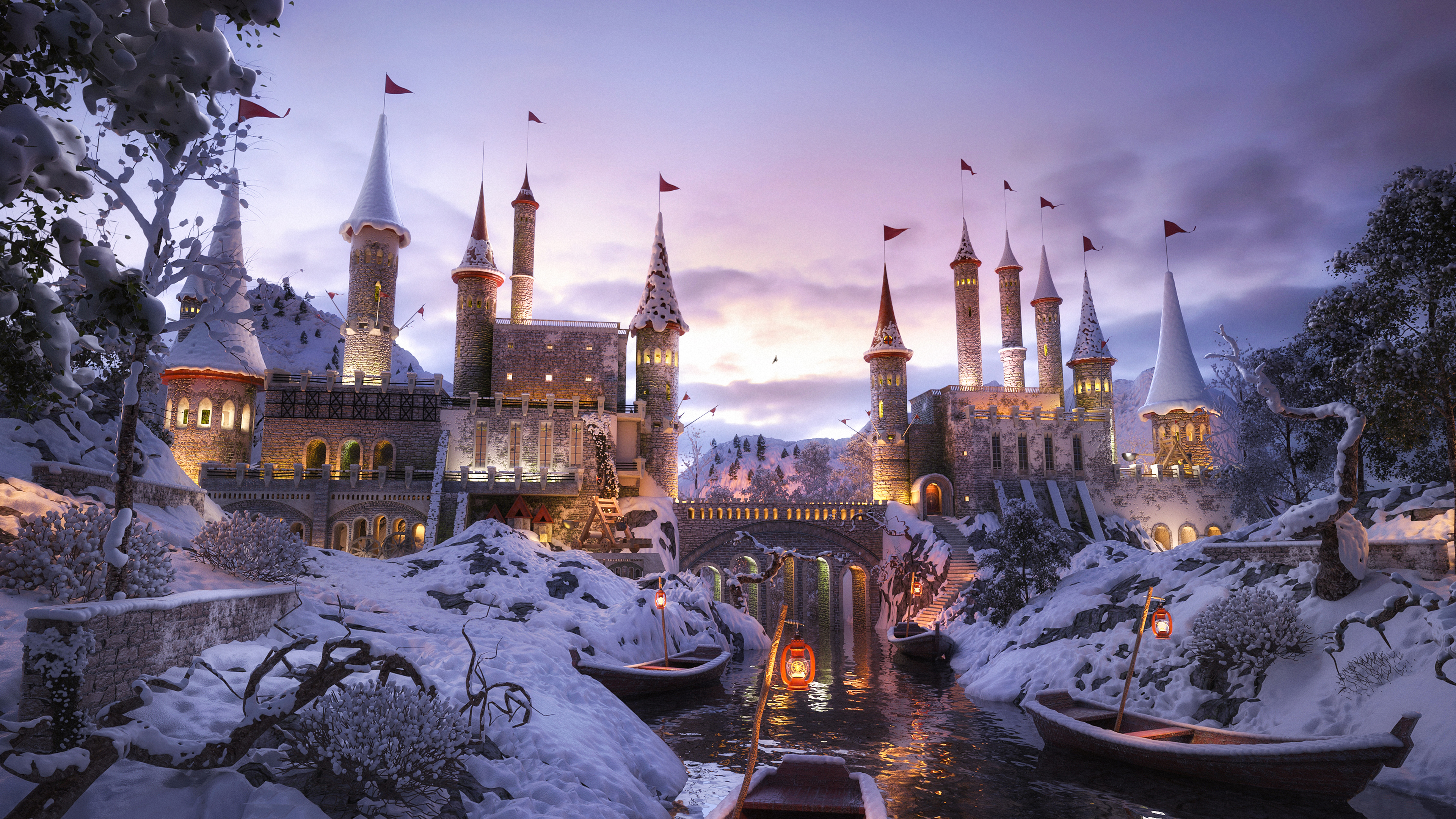 A Castle In Snow 4k Hd Artist 4k Wallpapers Images
