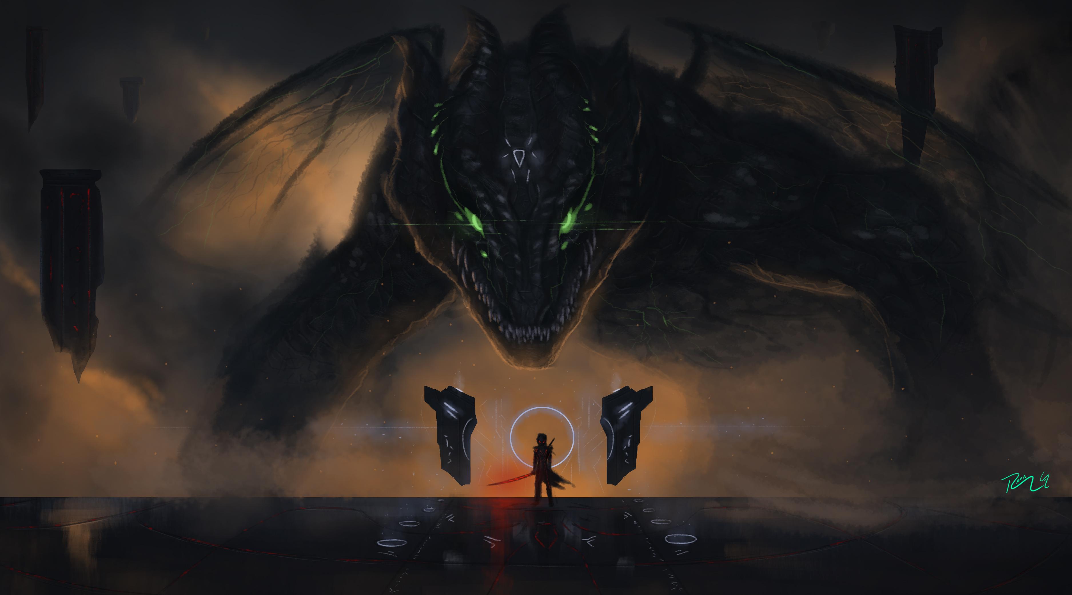aeon awakening dragon evil fear fury million oblivion 4k hd artist