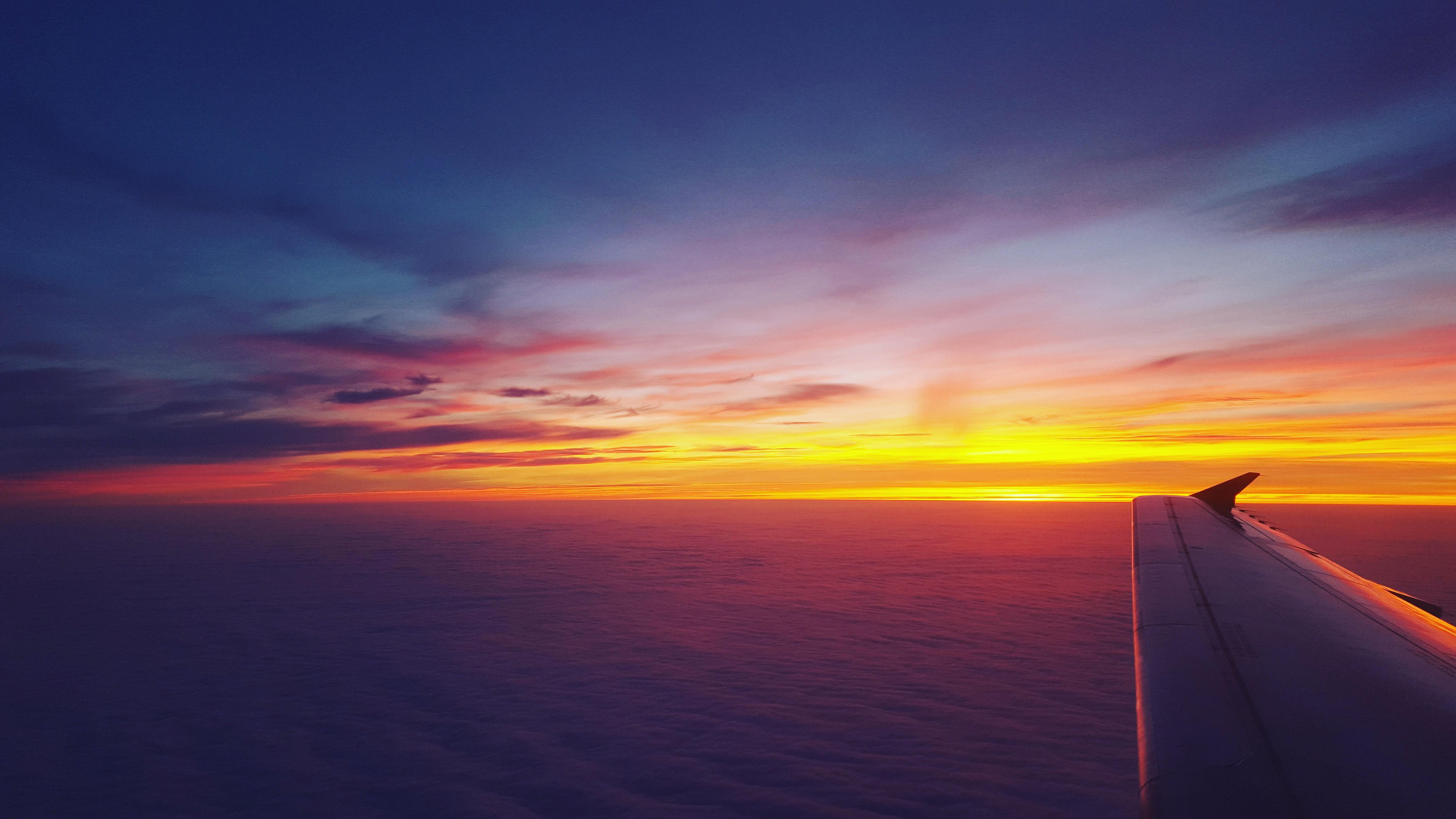 Airplane Dawn Dusk Flight Sunrise Sky, HD Planes, 4k