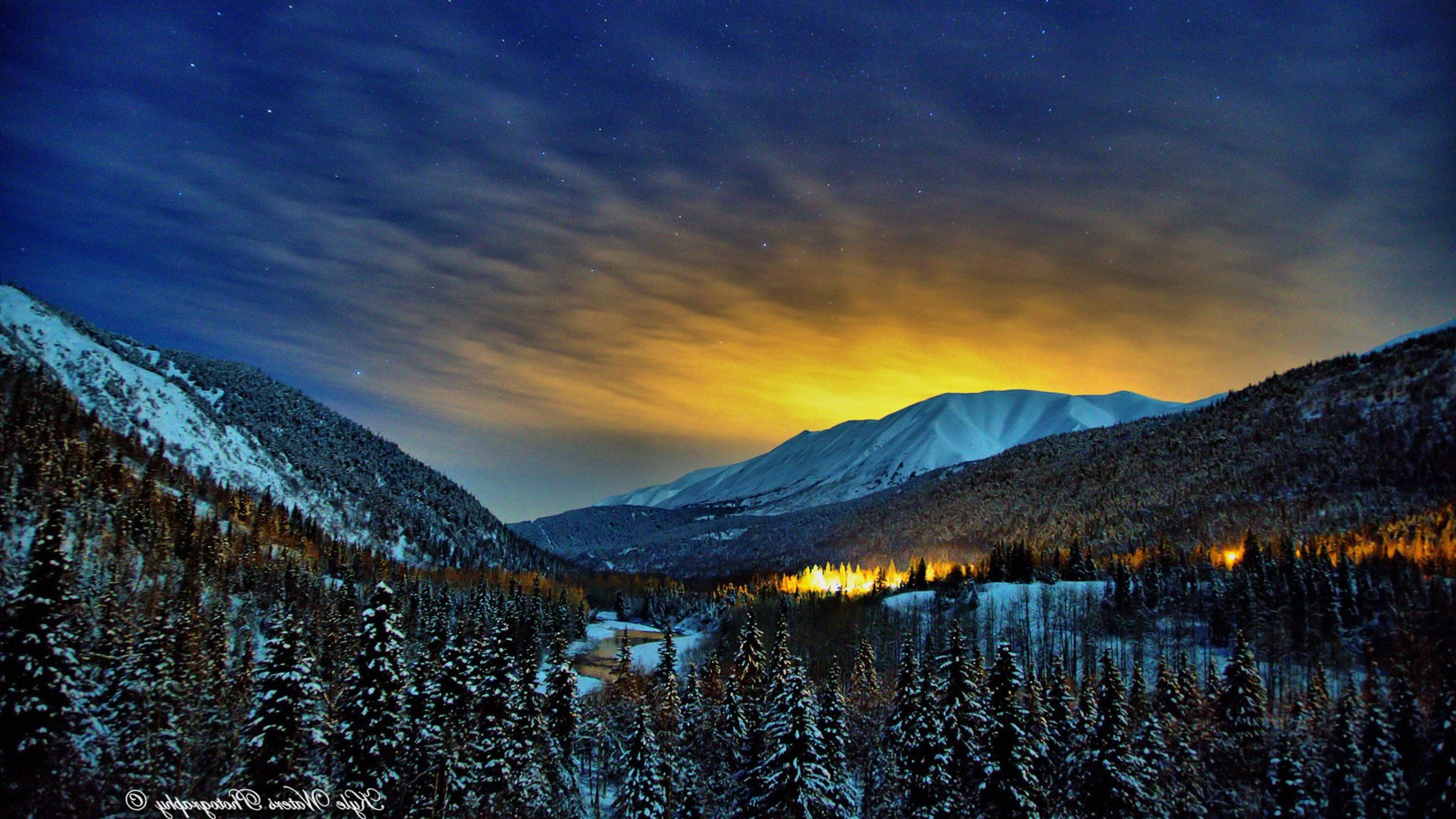 Alaska Winter Nights HD Nature 4k Wallpapers Images Backgrounds