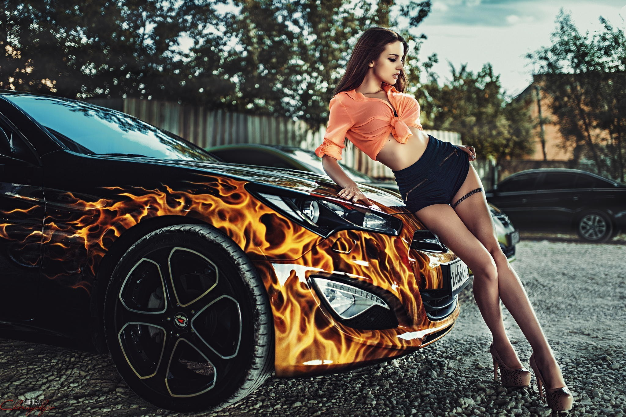 alla berger posing with car, hd girls, 4k wallpapers, images