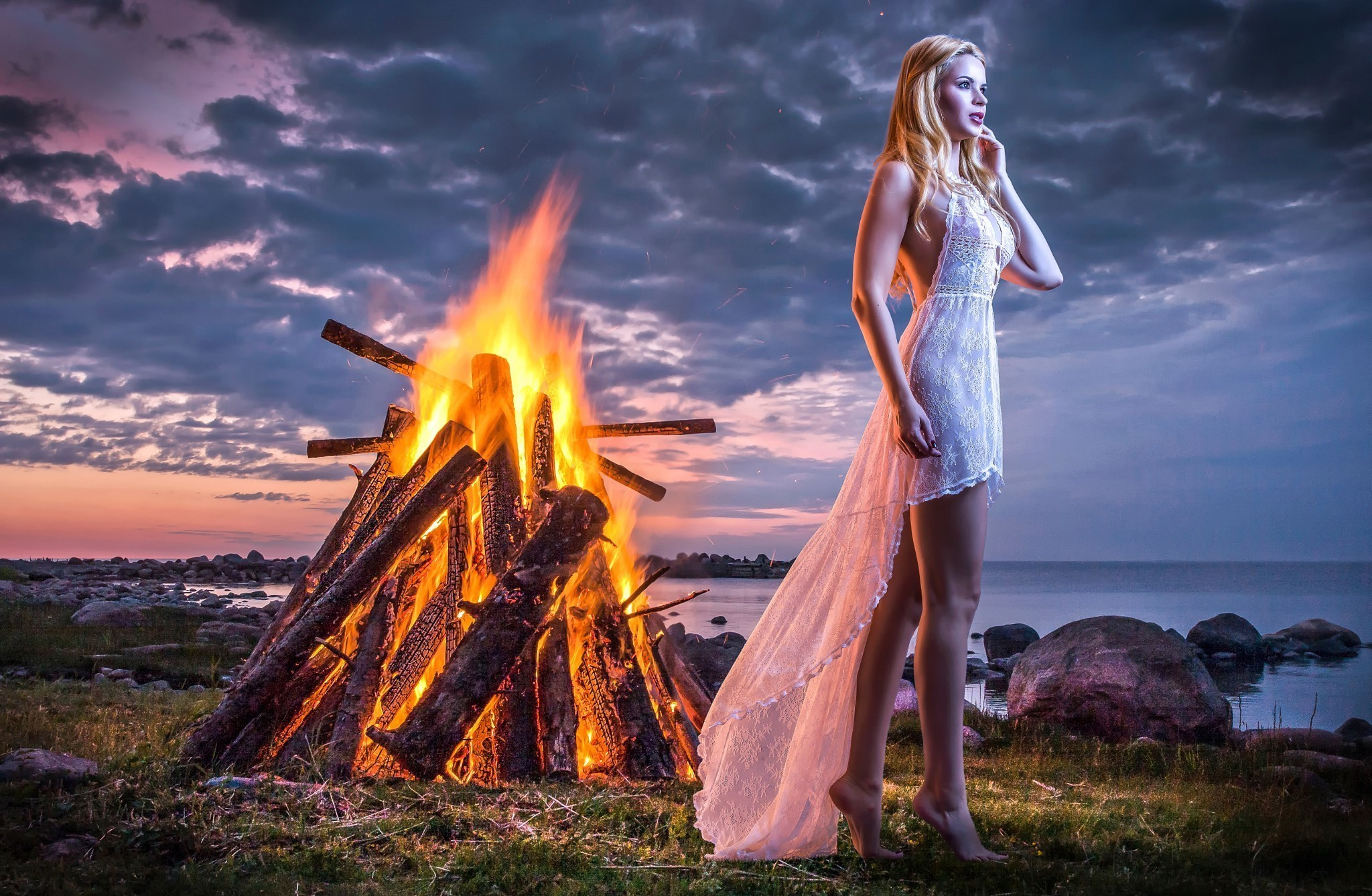 2048x1152 Alone Girl Standing Near Fire 2048x1152 Resolution Hd 4k