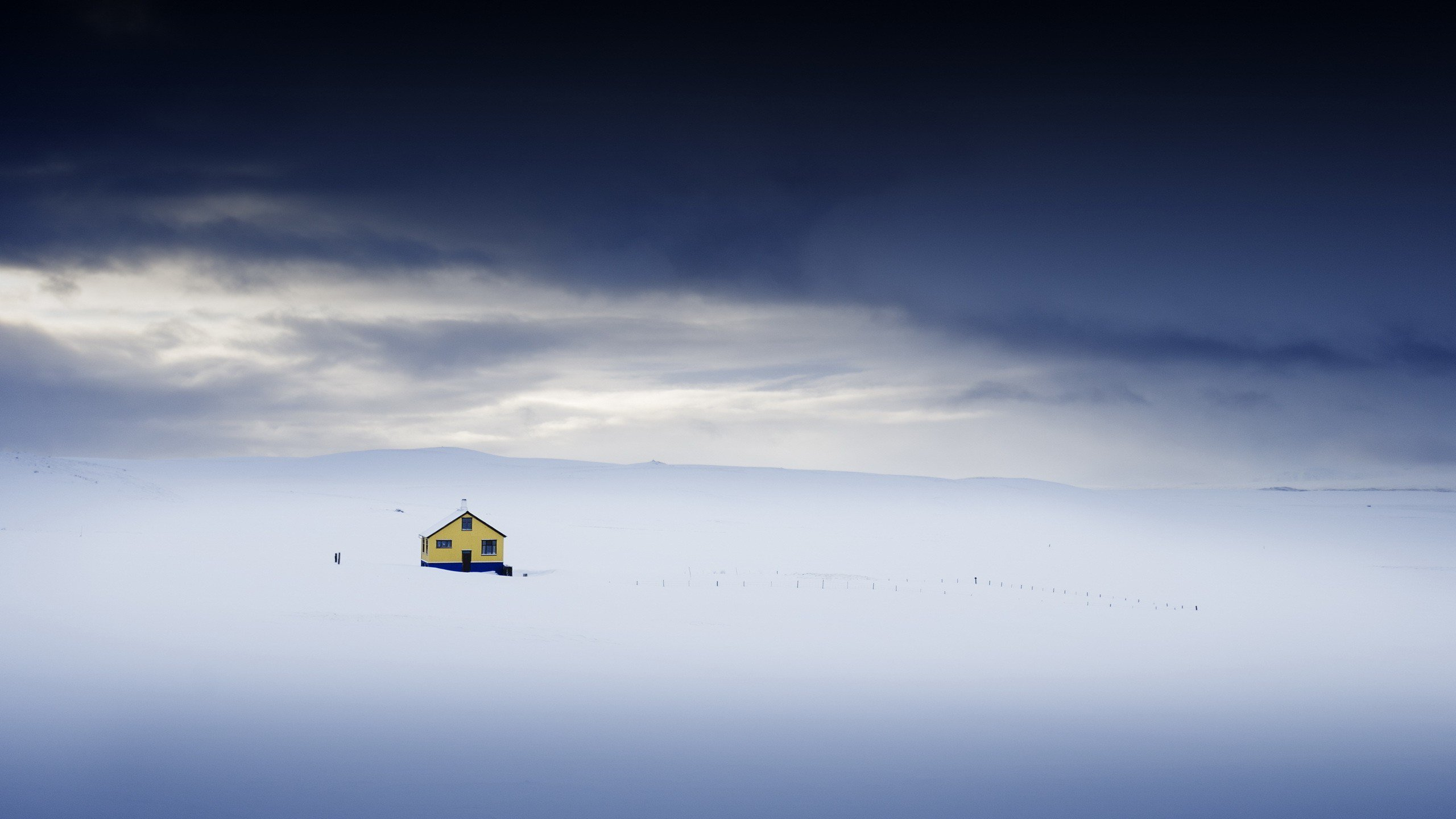 Alone House On Top Of Ice Mountains