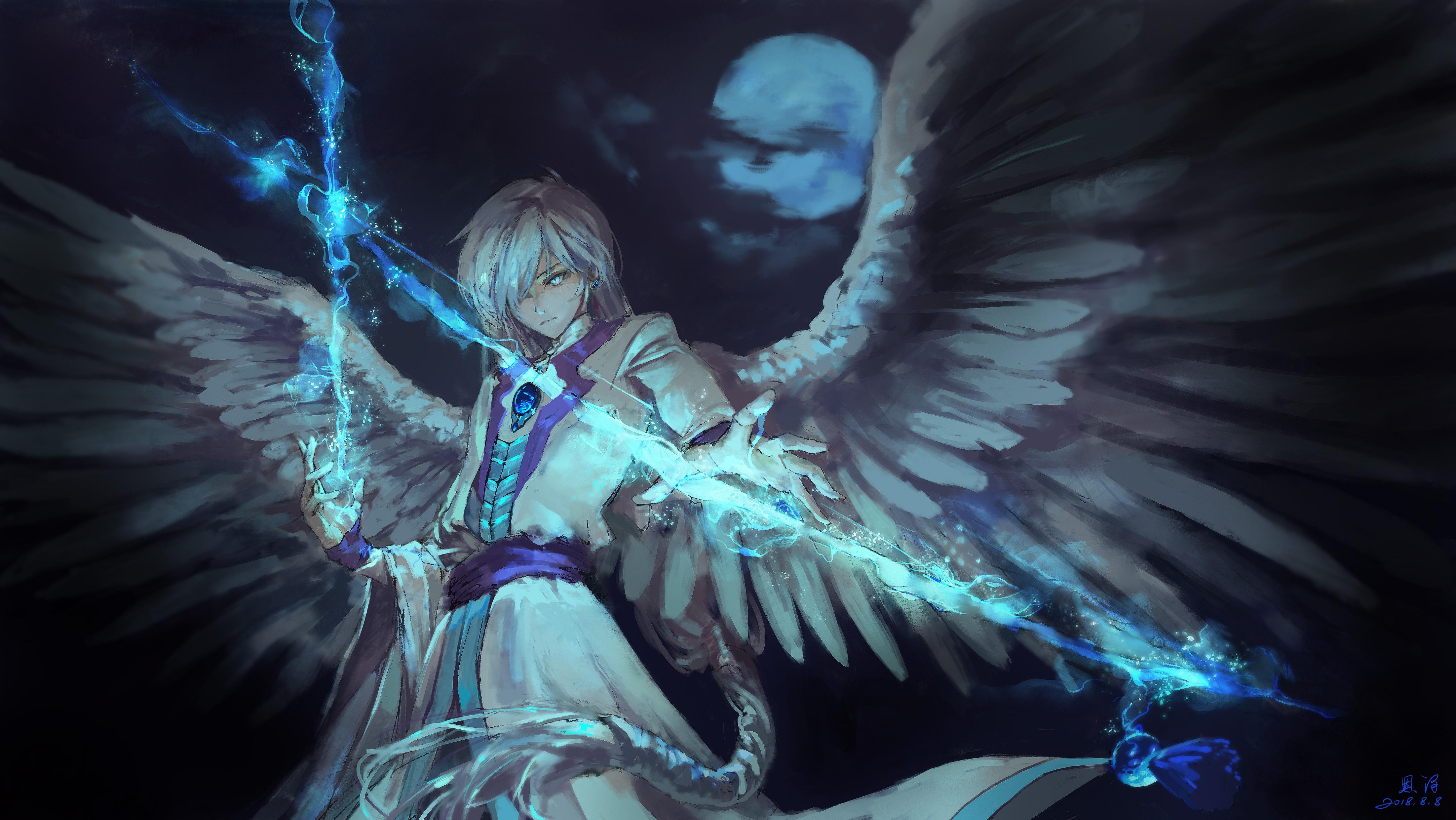 3840x2400 anime angel boy with magical arrow 4k hd 4k - Dark angel anime wallpaper ...