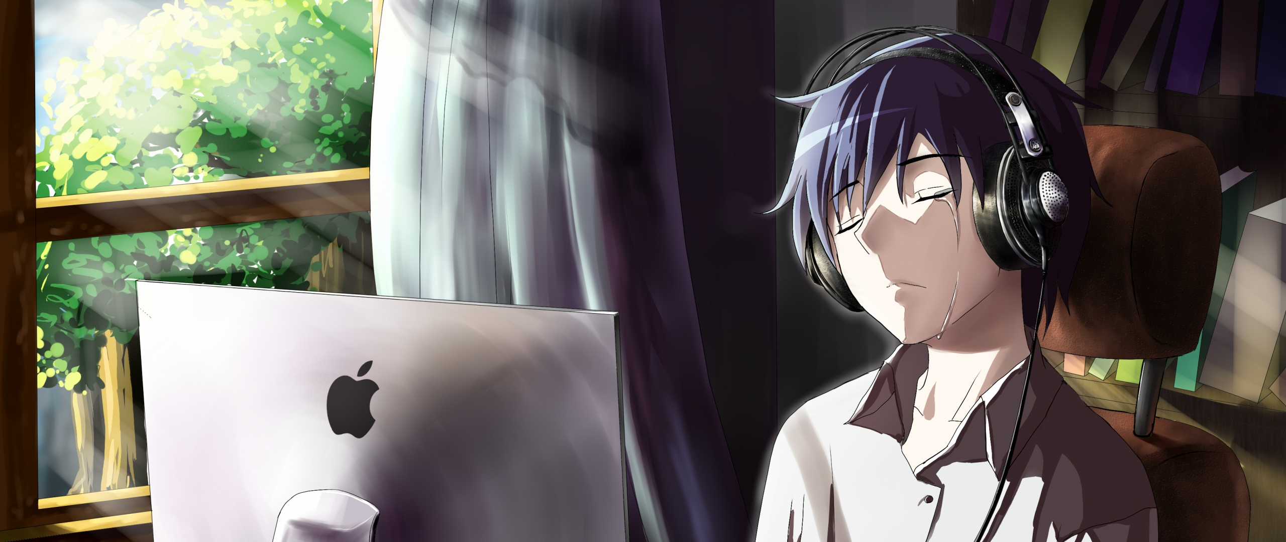 2048x1152 Anime Boy Crying In Front Of Apple Laptop