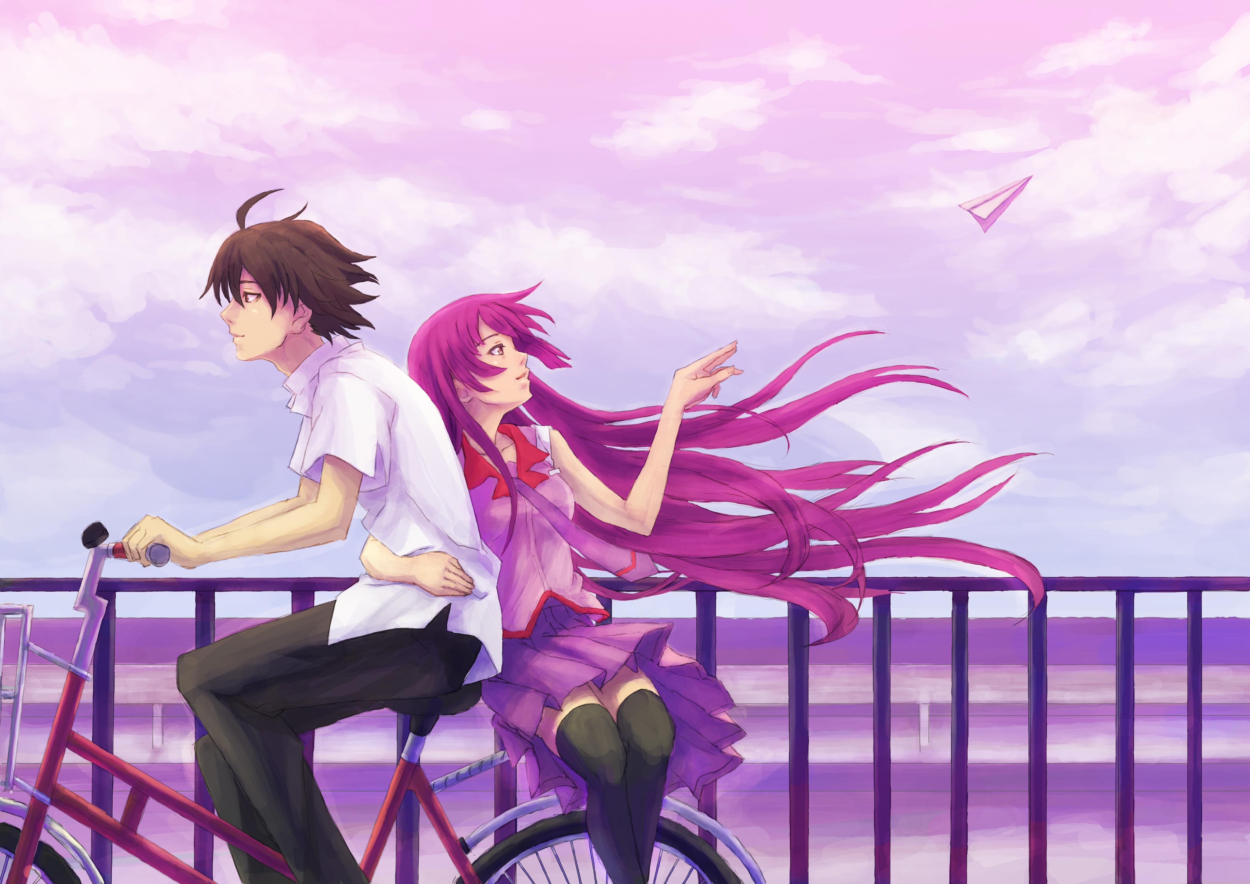 anime boy girl cycle 4k, hd anime, 4k wallpapers, images