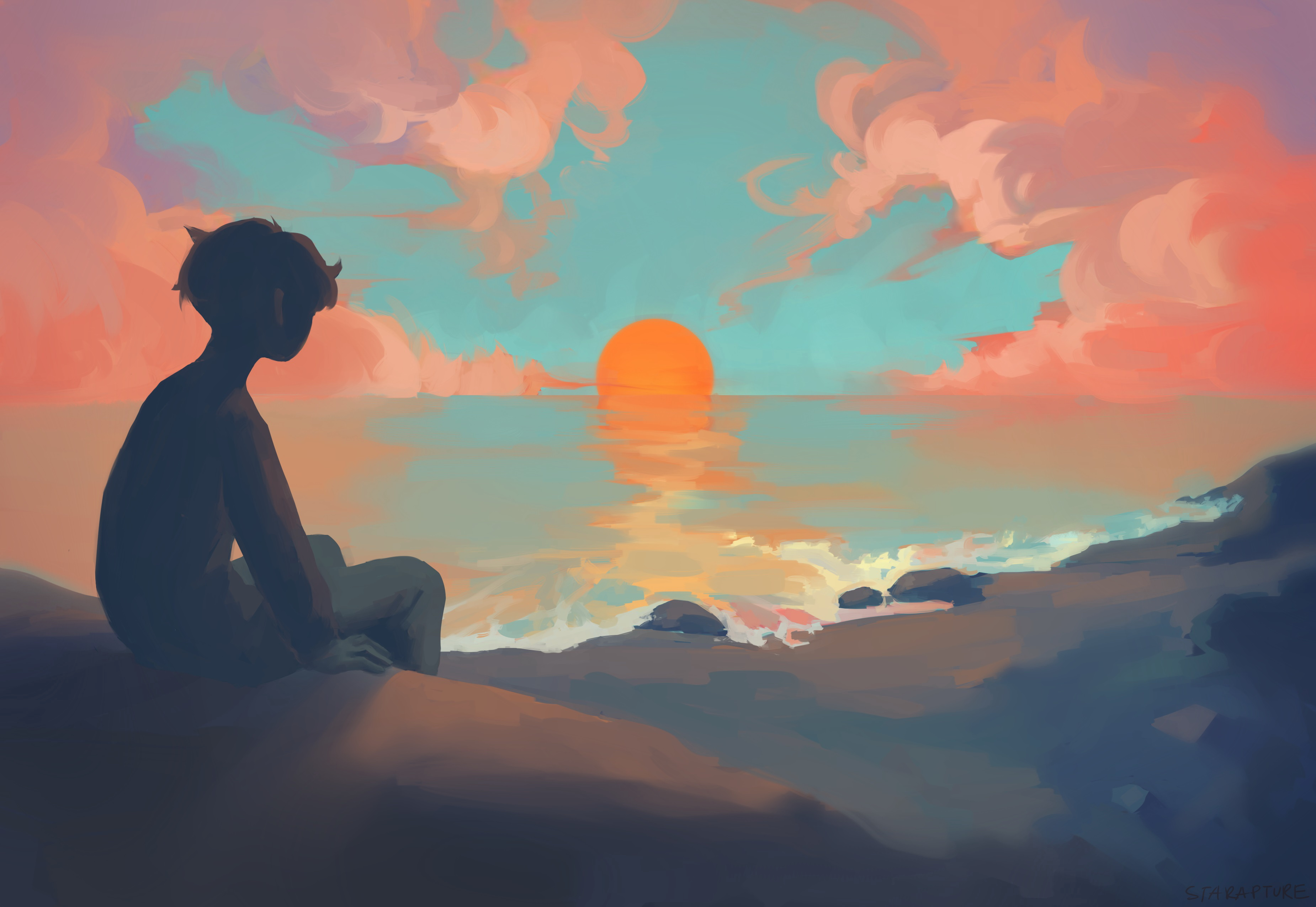 Anime Boy Sitting Watching Sunset, HD Anime, 4k Wallpapers ...