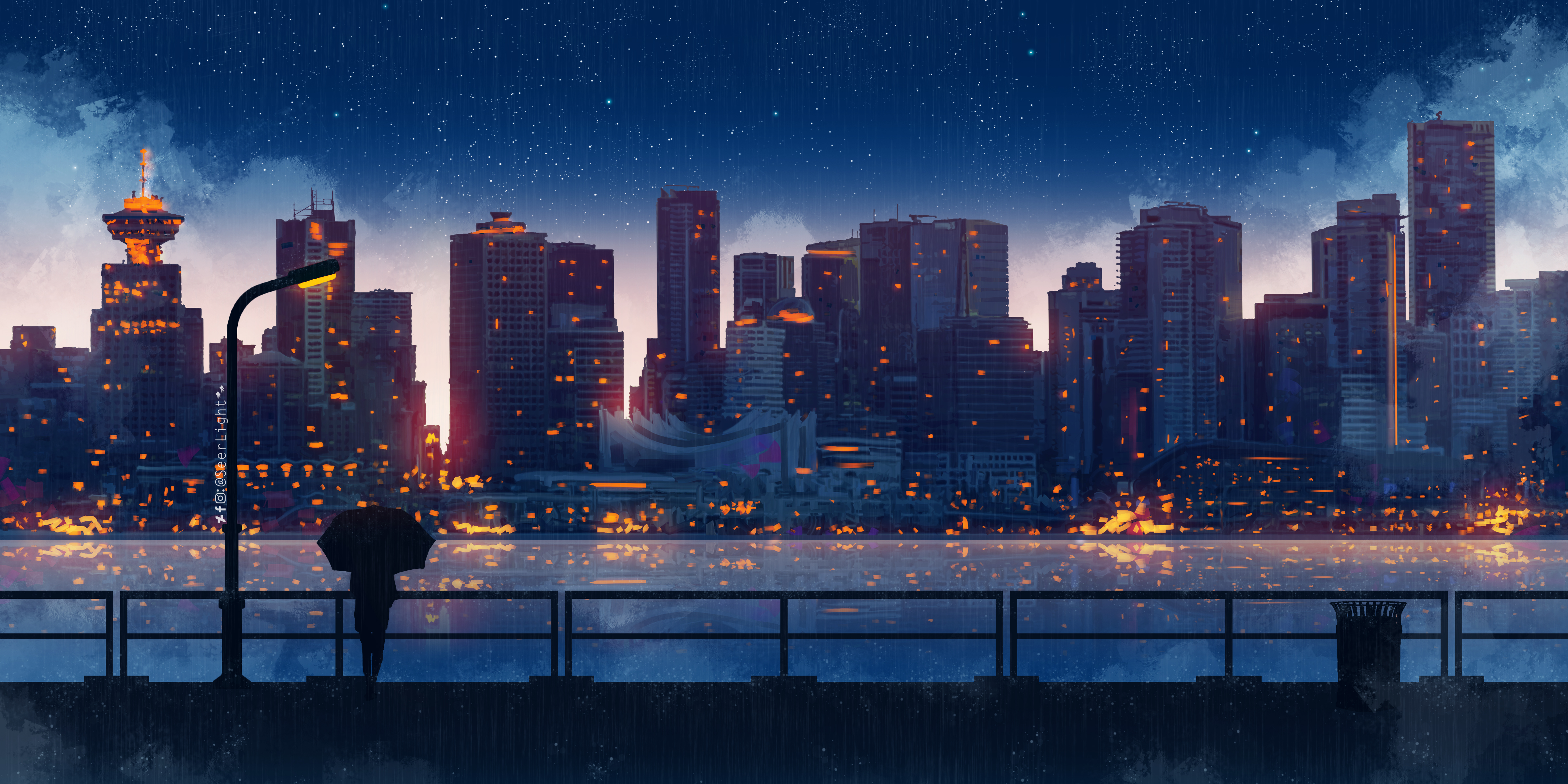 Anime City Lights Night Rain Umbrella Sky 5k, HD Artist ...