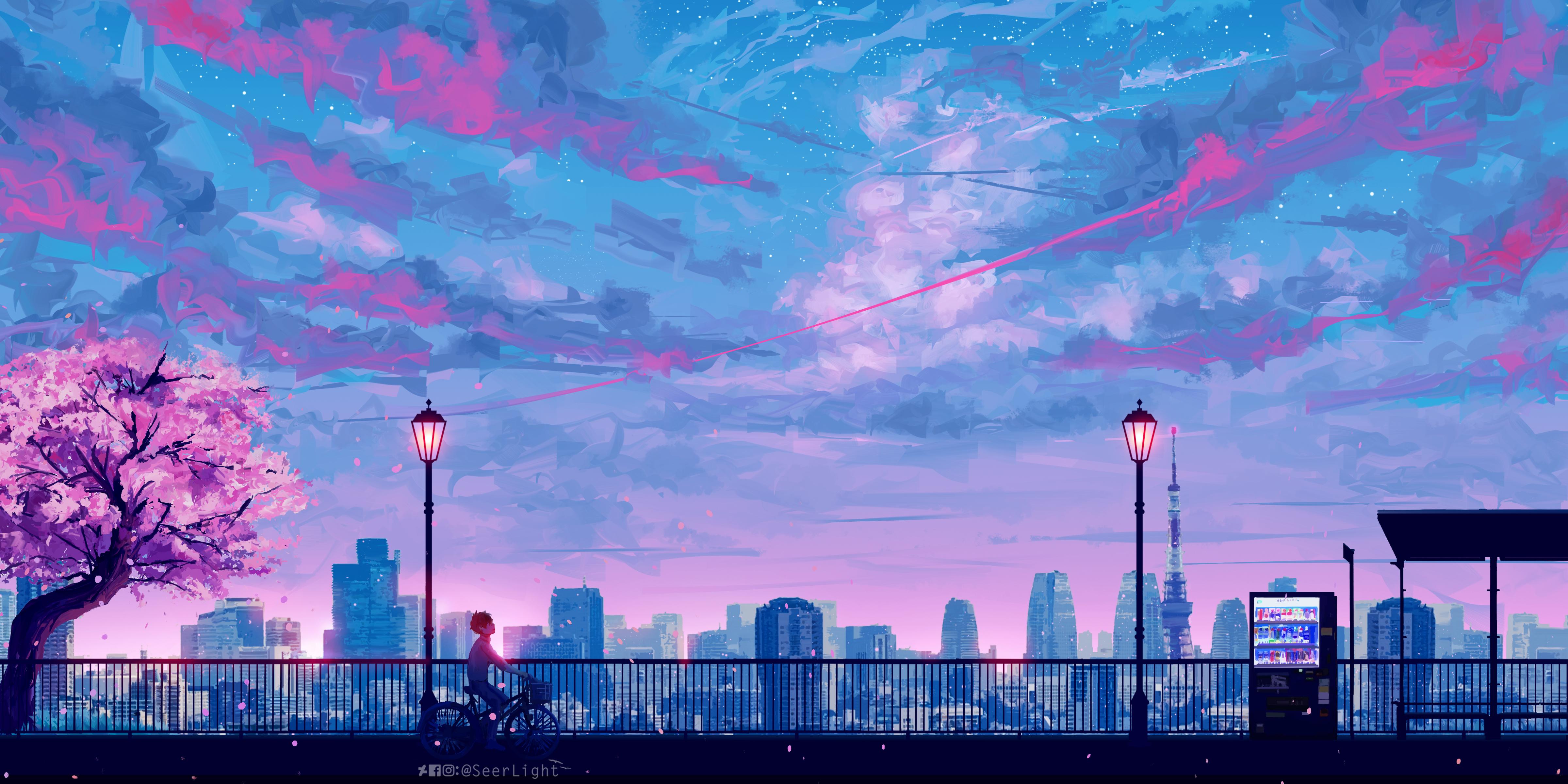 Anime cityscape landscape scenery 5k hd anime 4k - Anime scenery wallpaper laptop ...