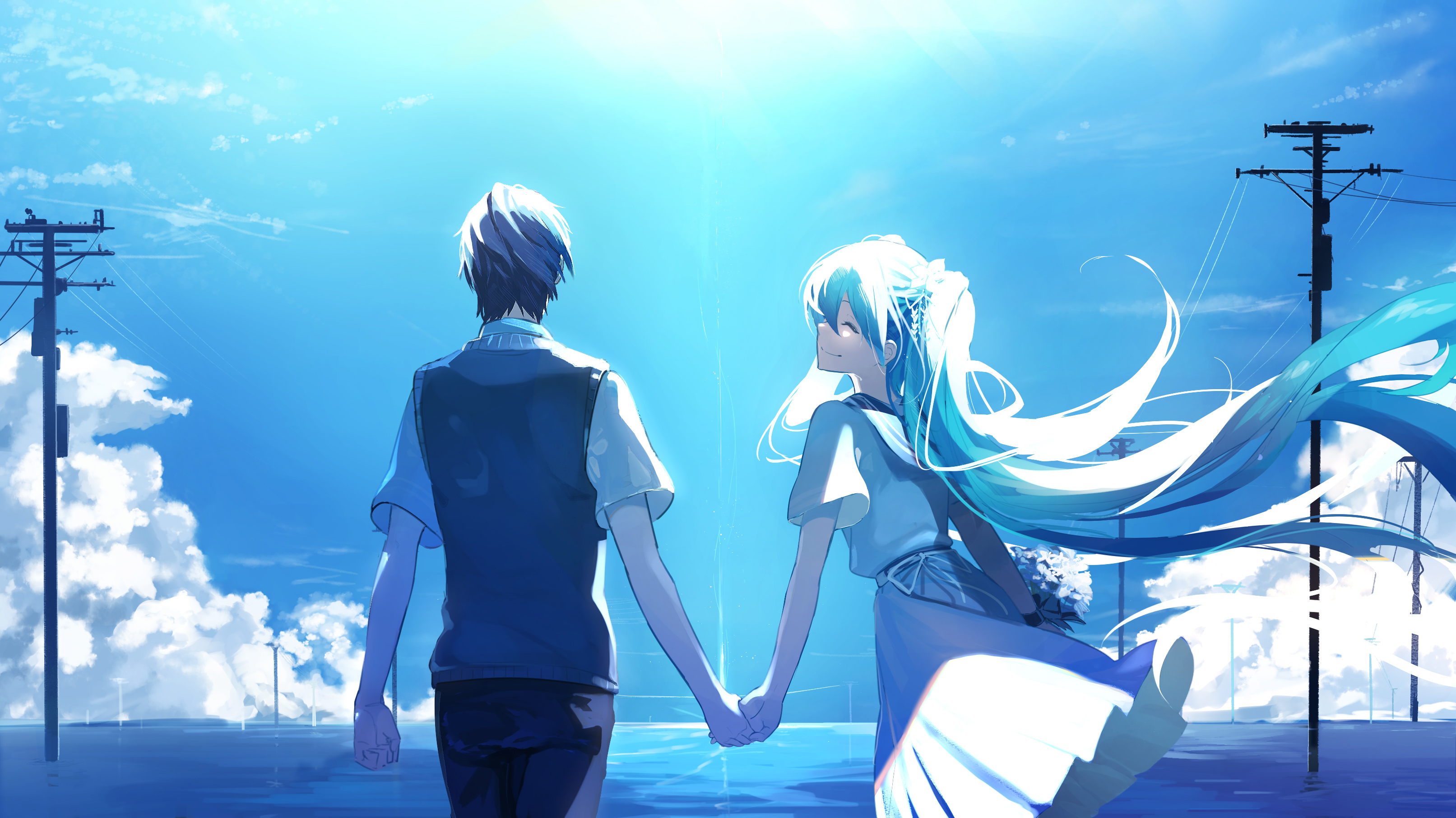 Anime couple holding hands hatsune miku