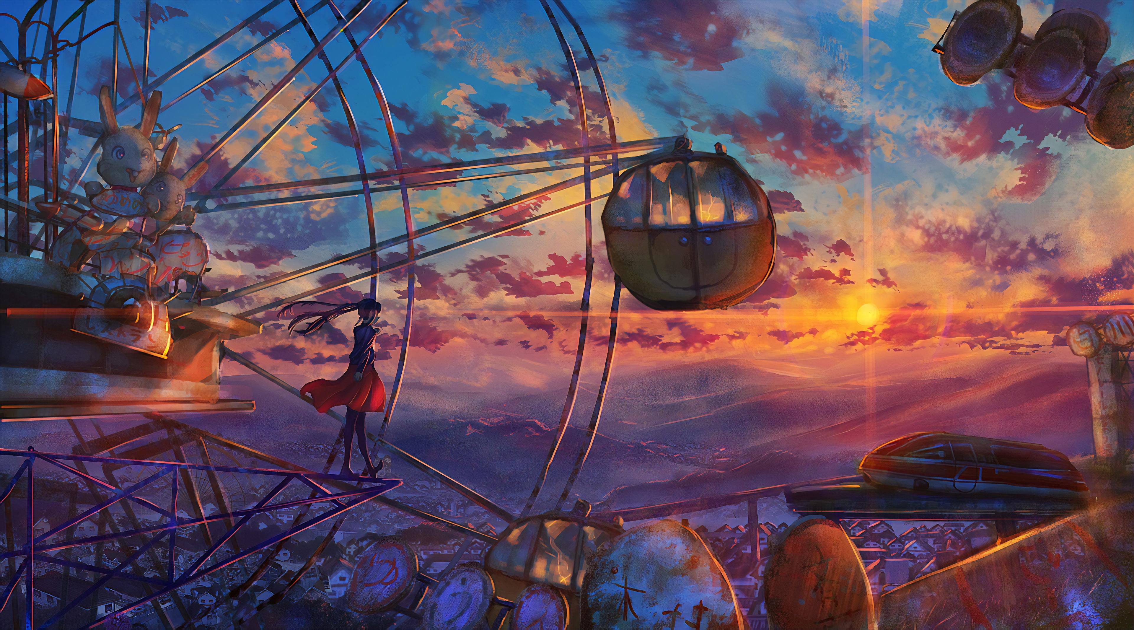 Anime Ferris Wheel Painting, HD Anime, 4k Wallpapers ...