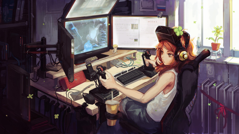 Anime Gamer Girl, Hd Anime, 4K Wallpapers, Images -8579