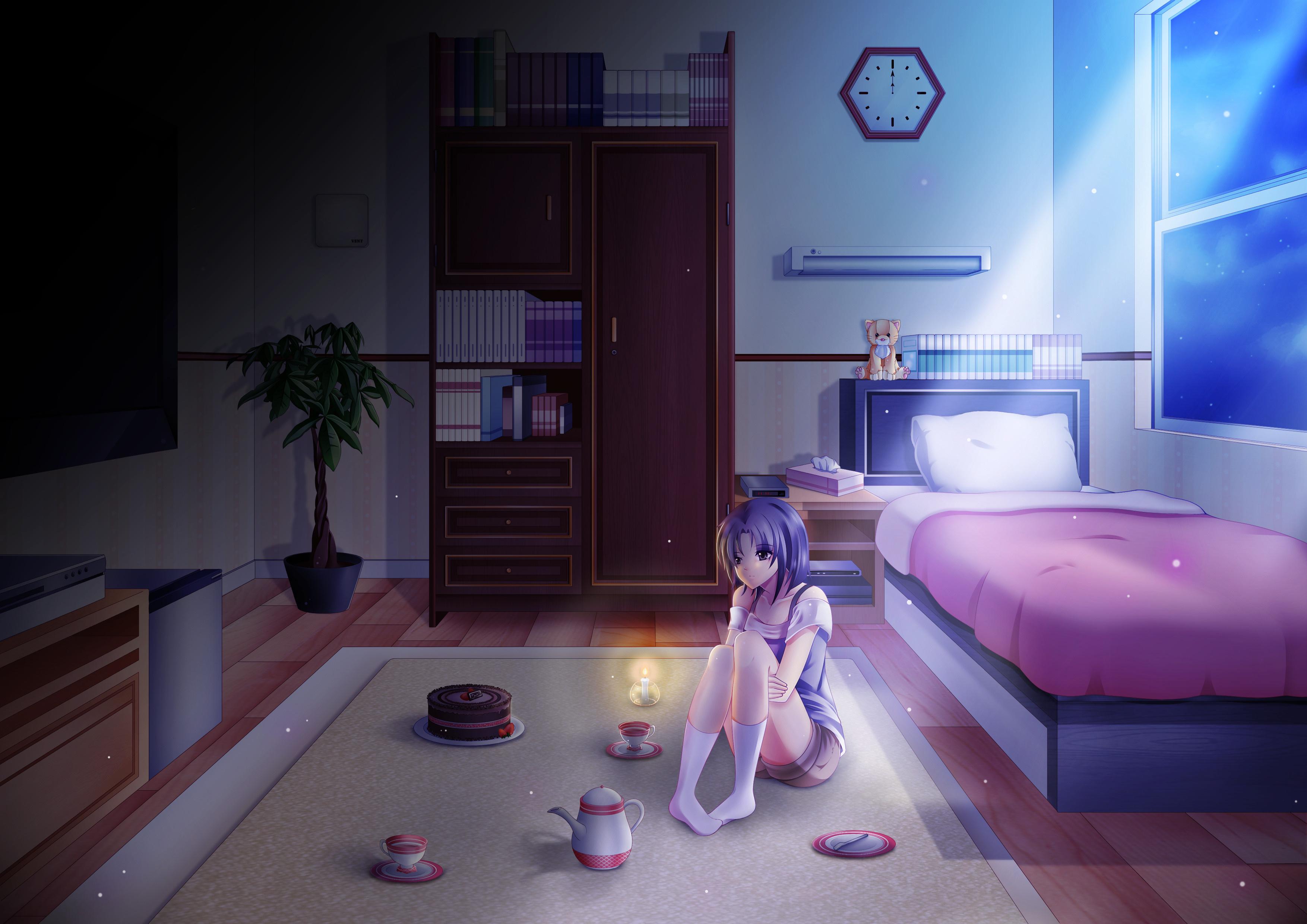 Anime girl alone in room on her birthday hd anime 4k