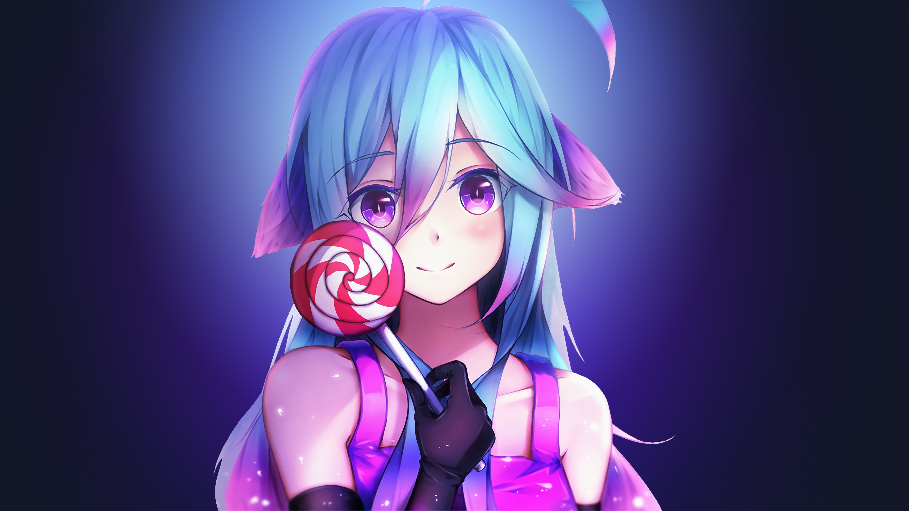 Anime girl cute rainbows and lolipop
