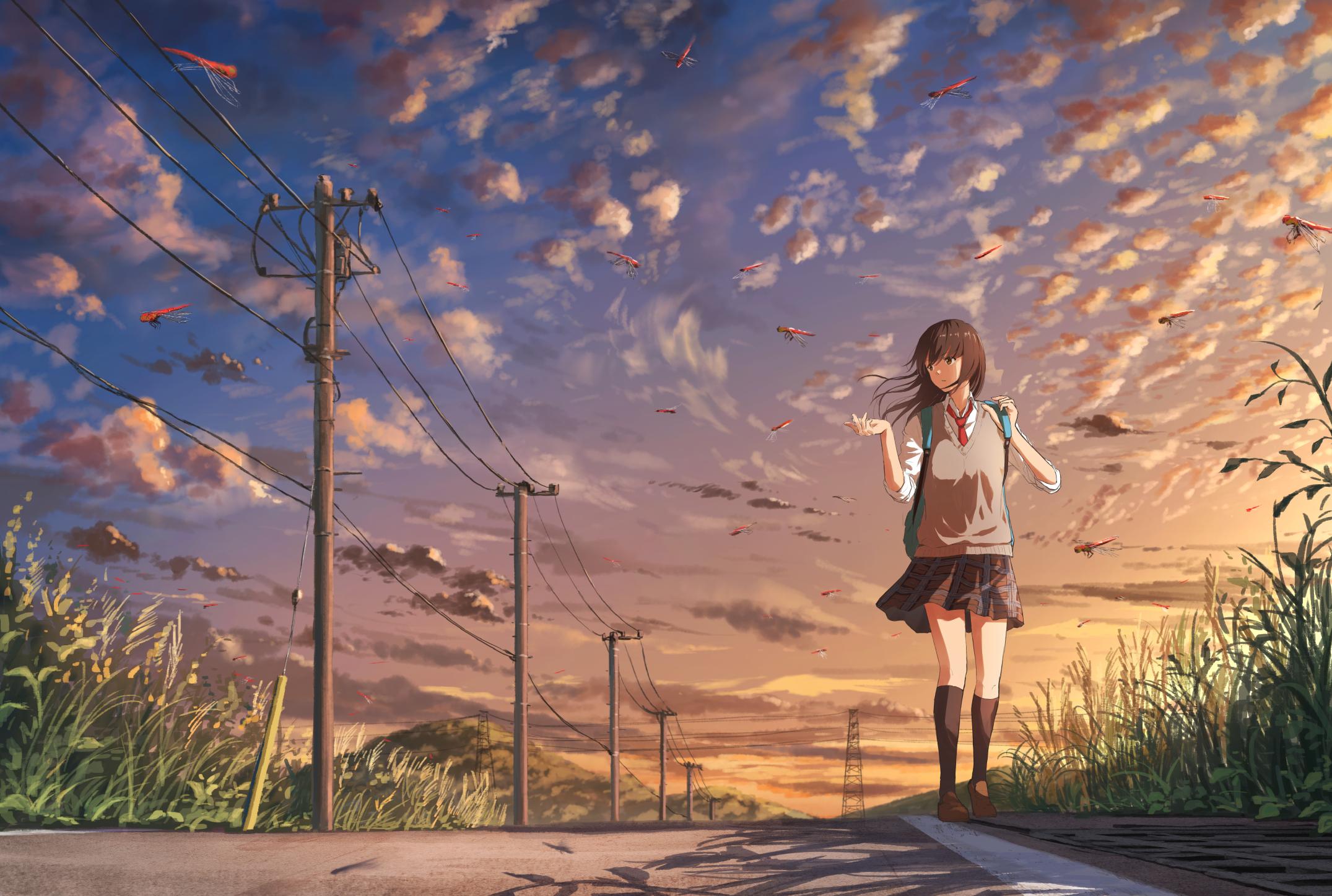 1080x1920 Anime Girl Going To School Iphone 7,6s,6 Plus