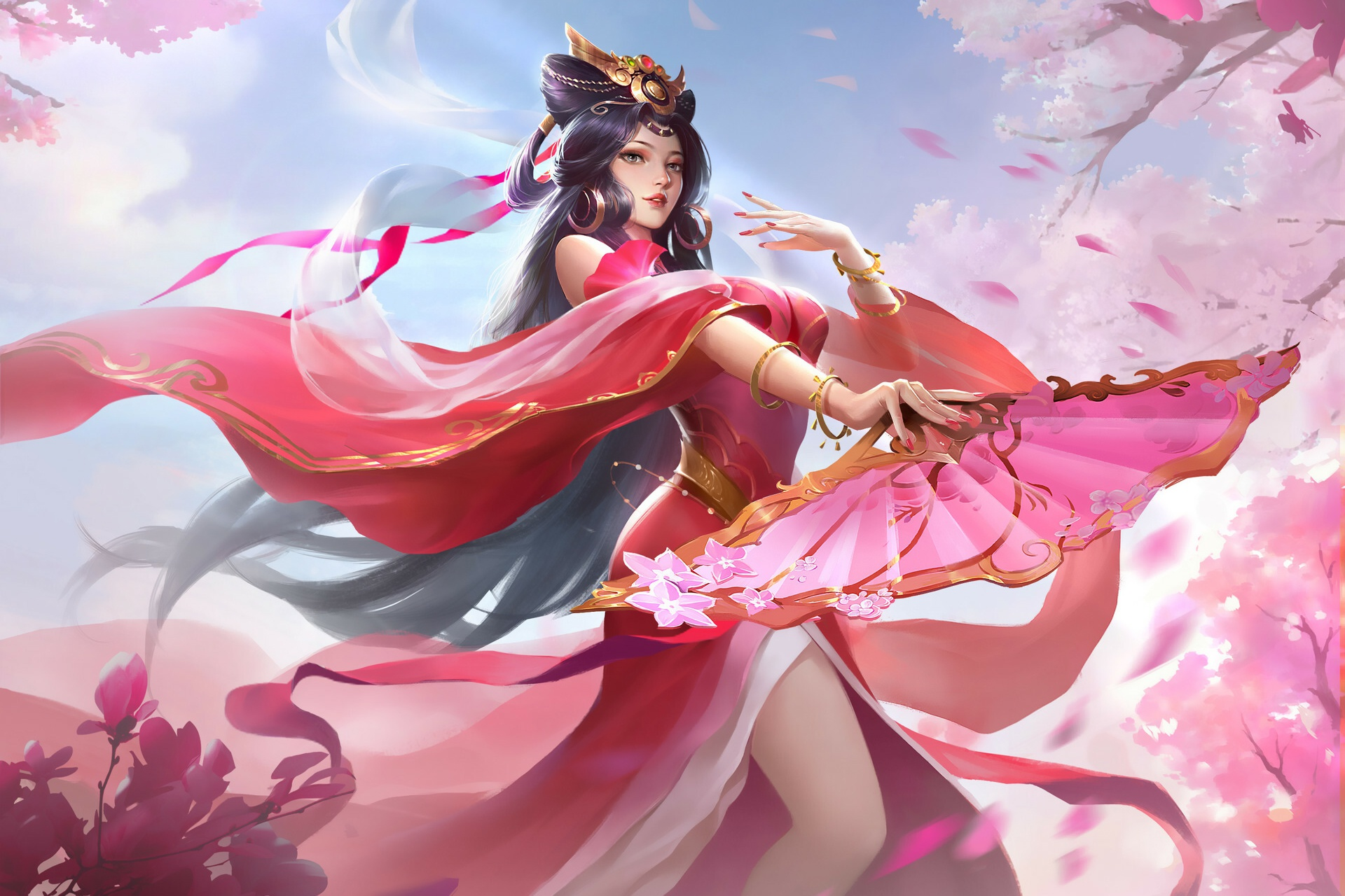 Anime Girl In Chinese Pink Dress Dancing, HD Anime, 4k ...