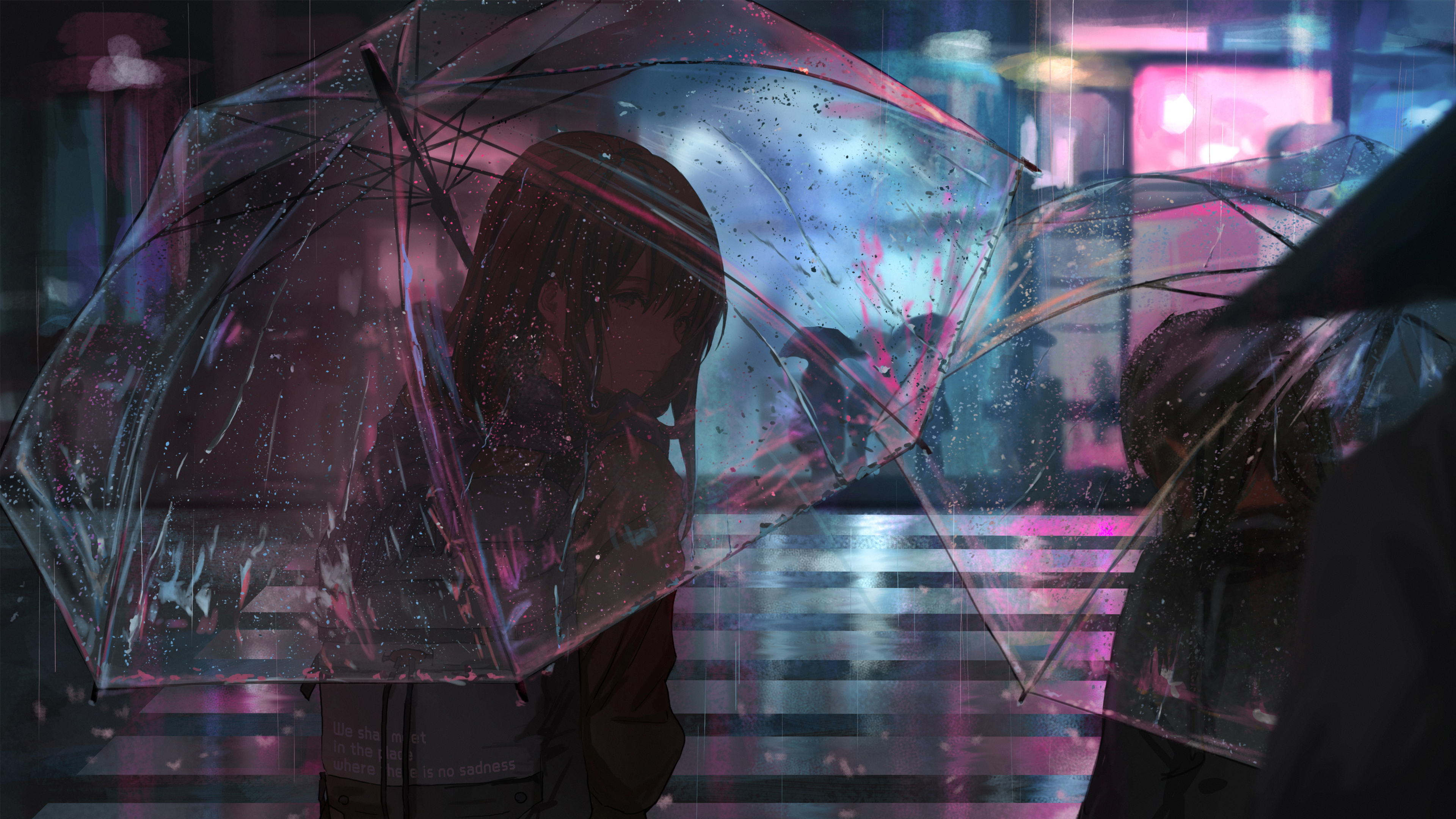 Anime girl in rain with umbrella 4k hd anime 4k - Anime rain wallpaper ...