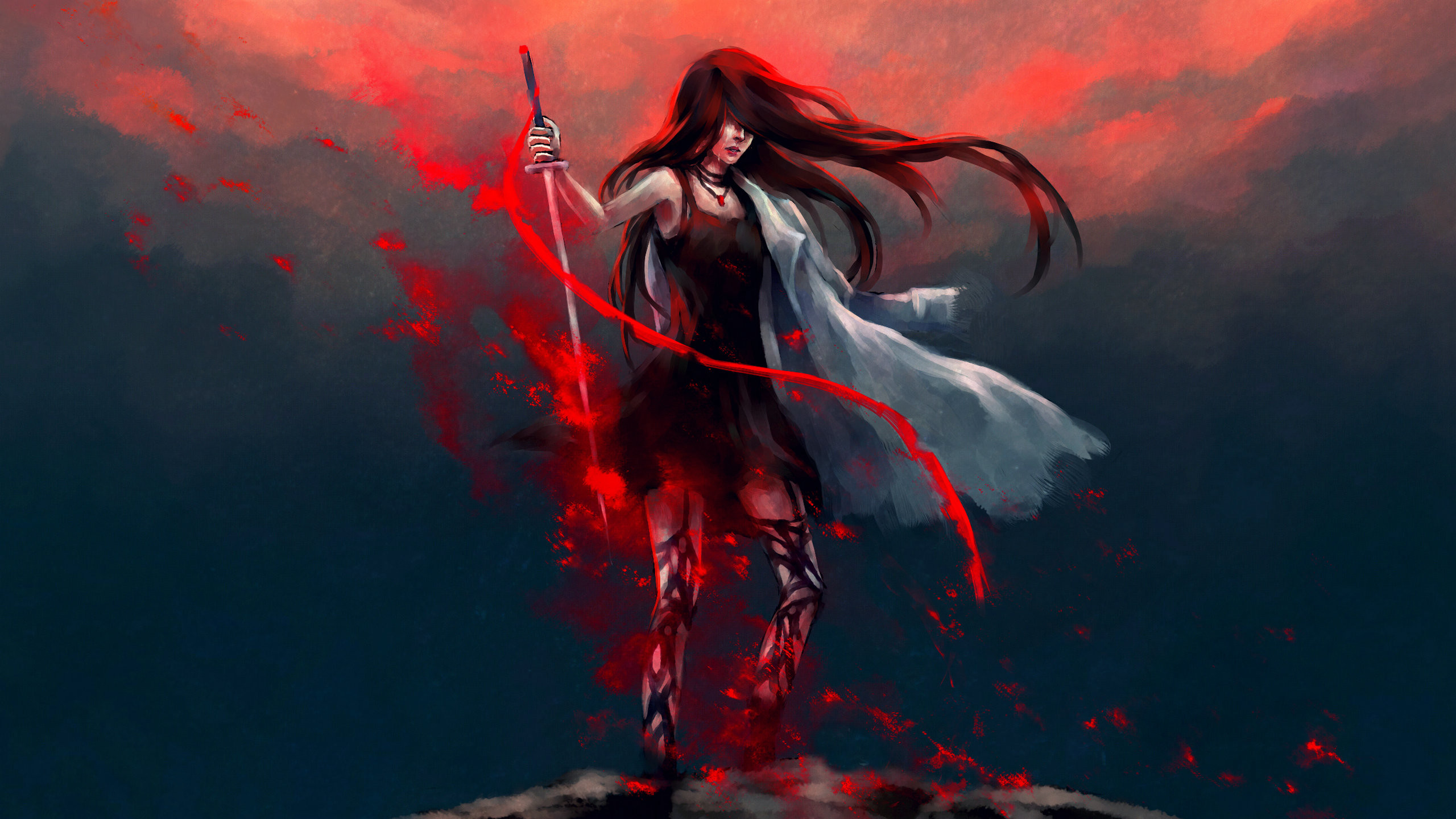 Anime Girl Katana Warrior With Sword Hd Anime 4k Wallpapers