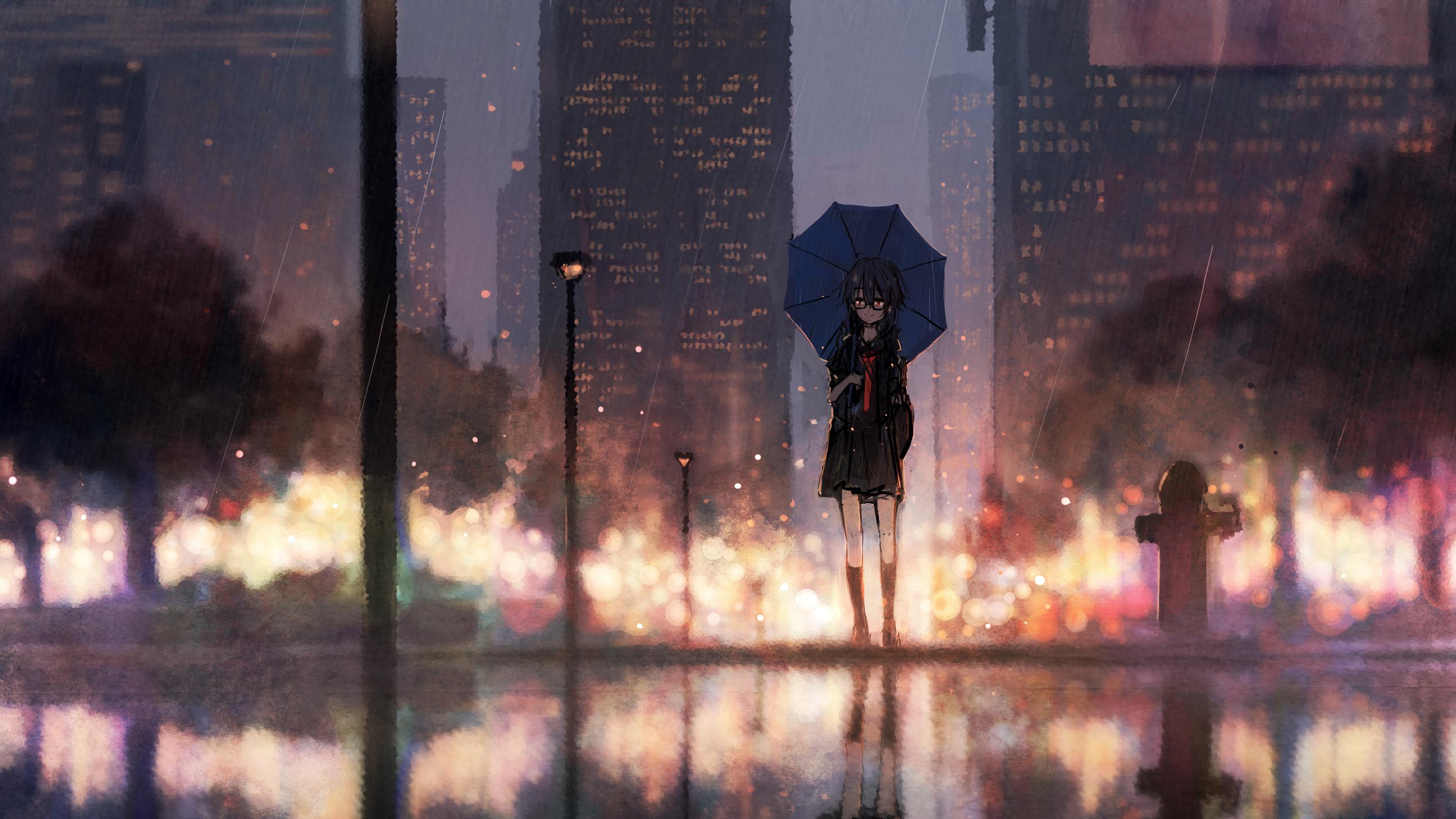 Anime Girl Rain Umbrella Hd Anime 4k Wallpapers Images