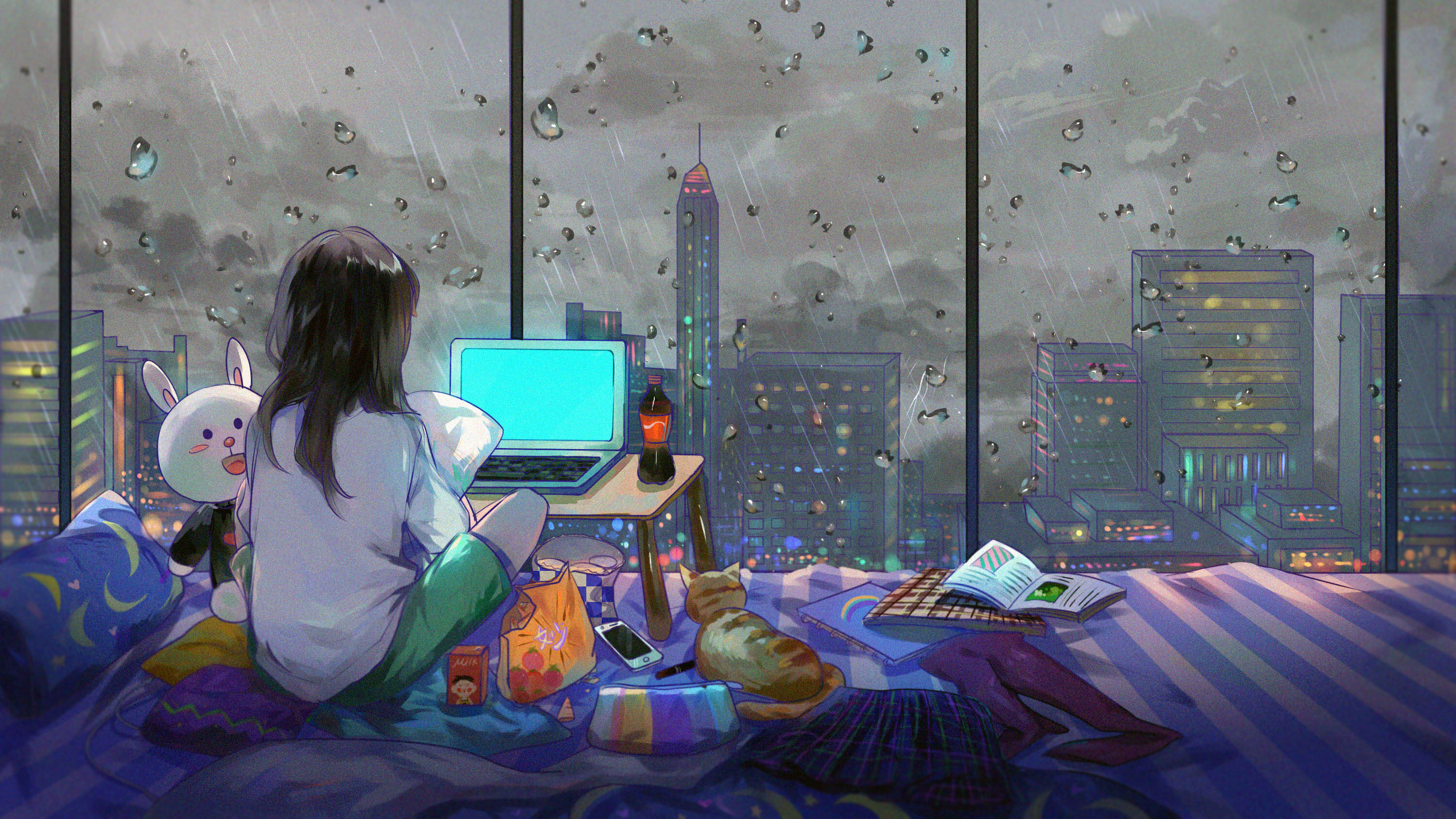 2048x1152 Anime Girl Room City Cat 2048x1152 Resolution Hd 4k