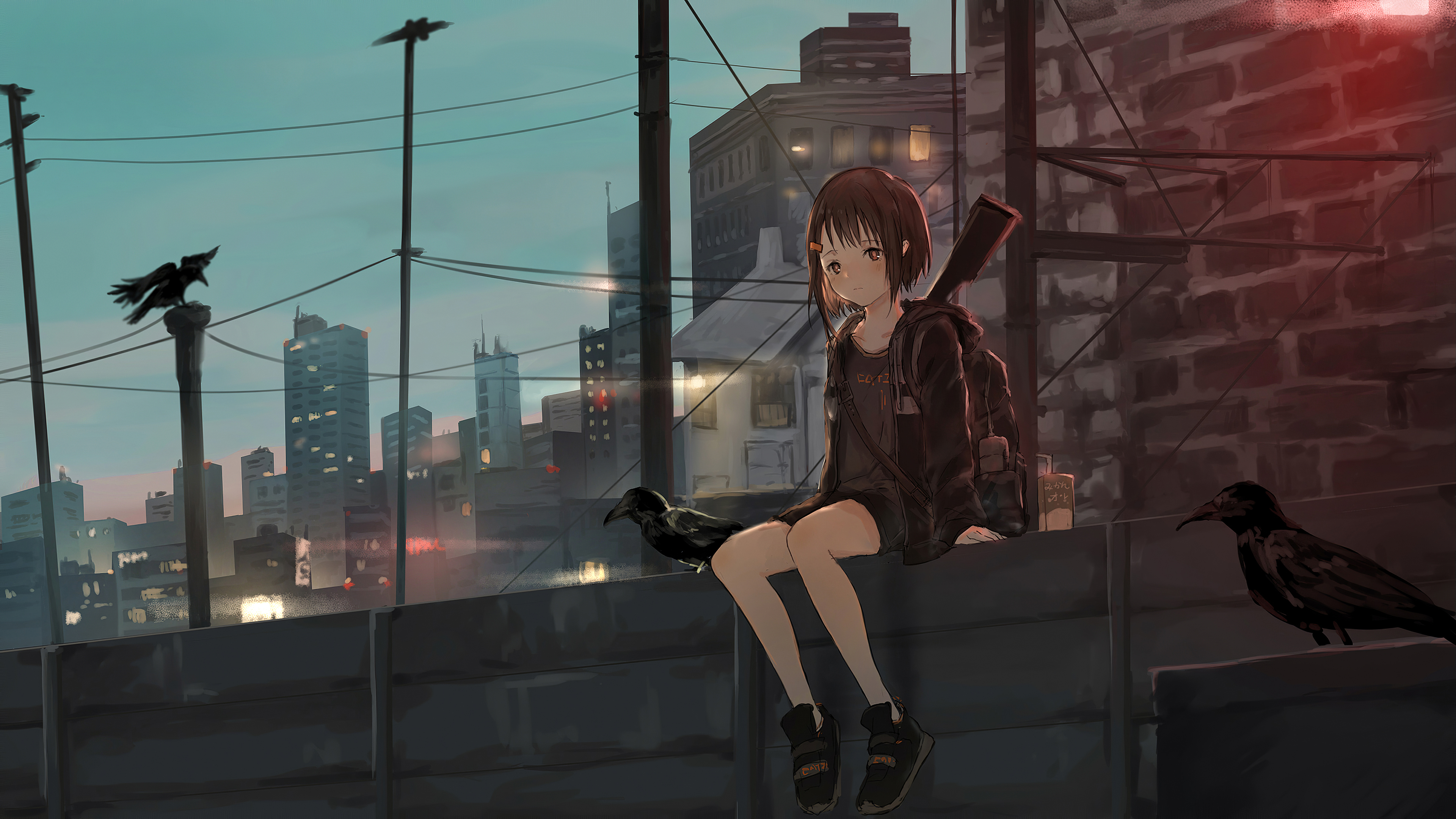 Anime Girl Sitting Alone Roof Sad 4k Hd Anime 4k