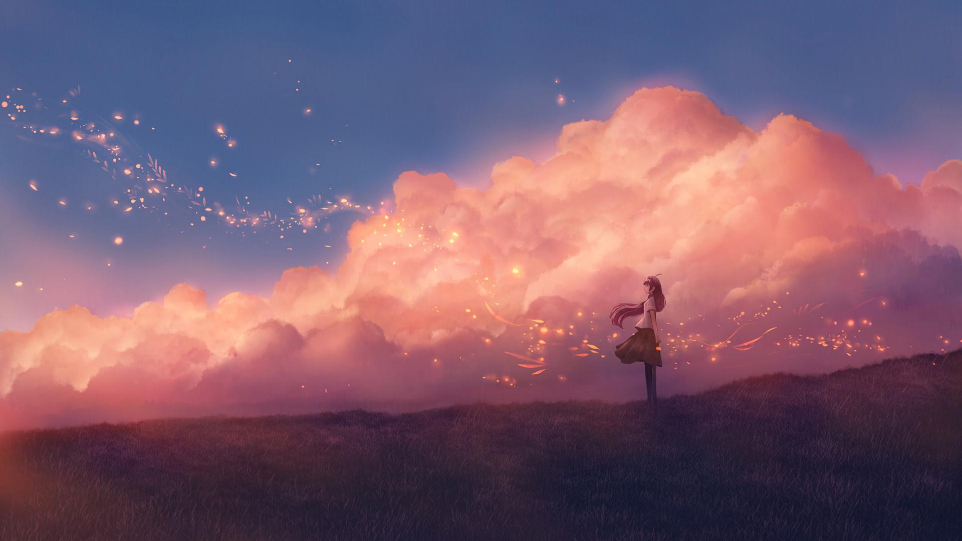 Anime Red Sky Wallpaper