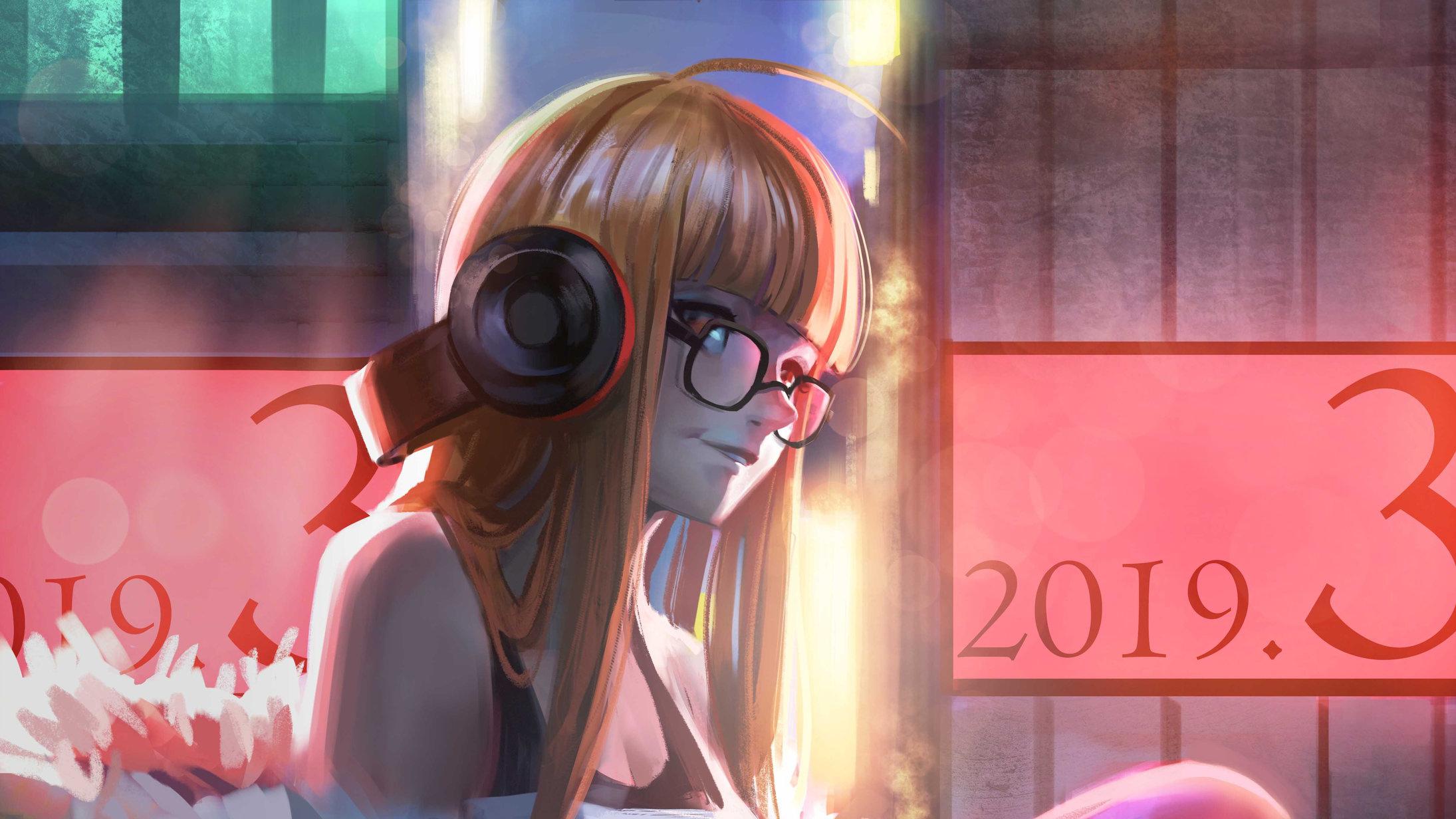 720x1440 Anime Girl With Headphones 720x1440 Resolution