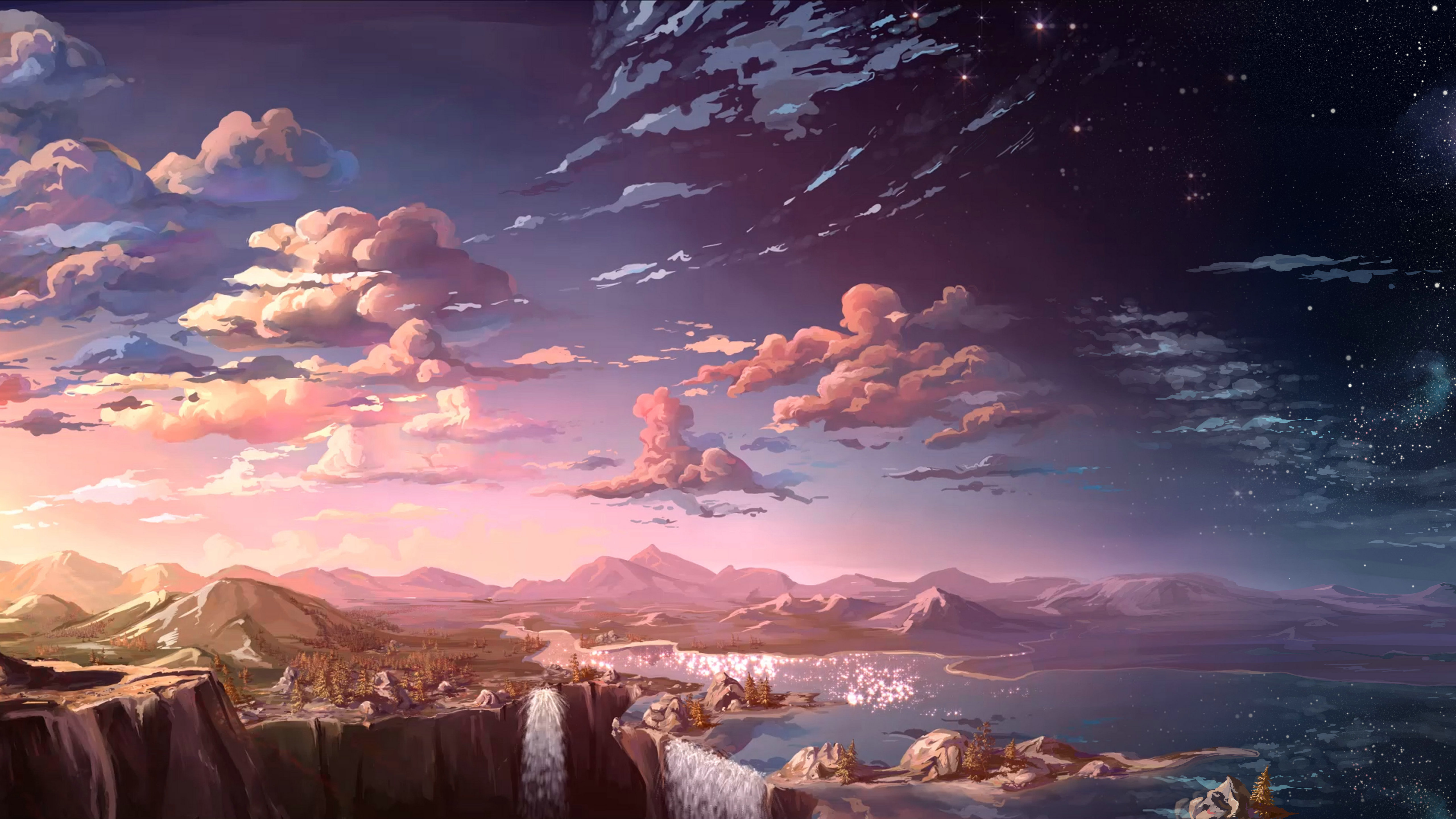 2048x1152 anime landscape waterfall cloud 5k 2048x1152 - 5k anime wallpaper ...