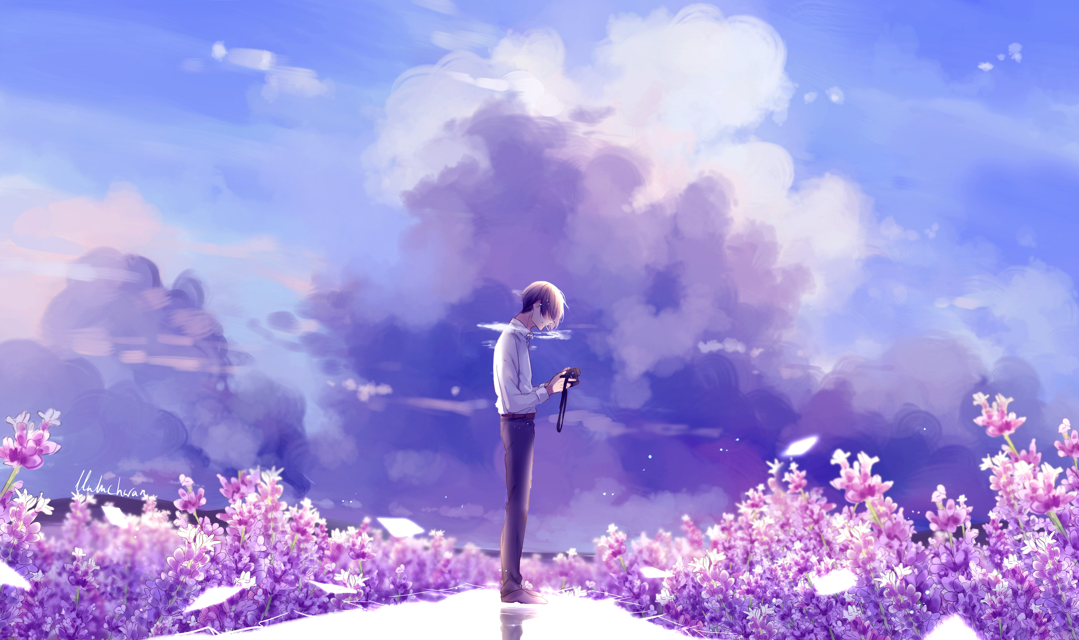 2560x1080 animeguy animemanga clouds digital flowers - Anime background wallpaper 4k ...