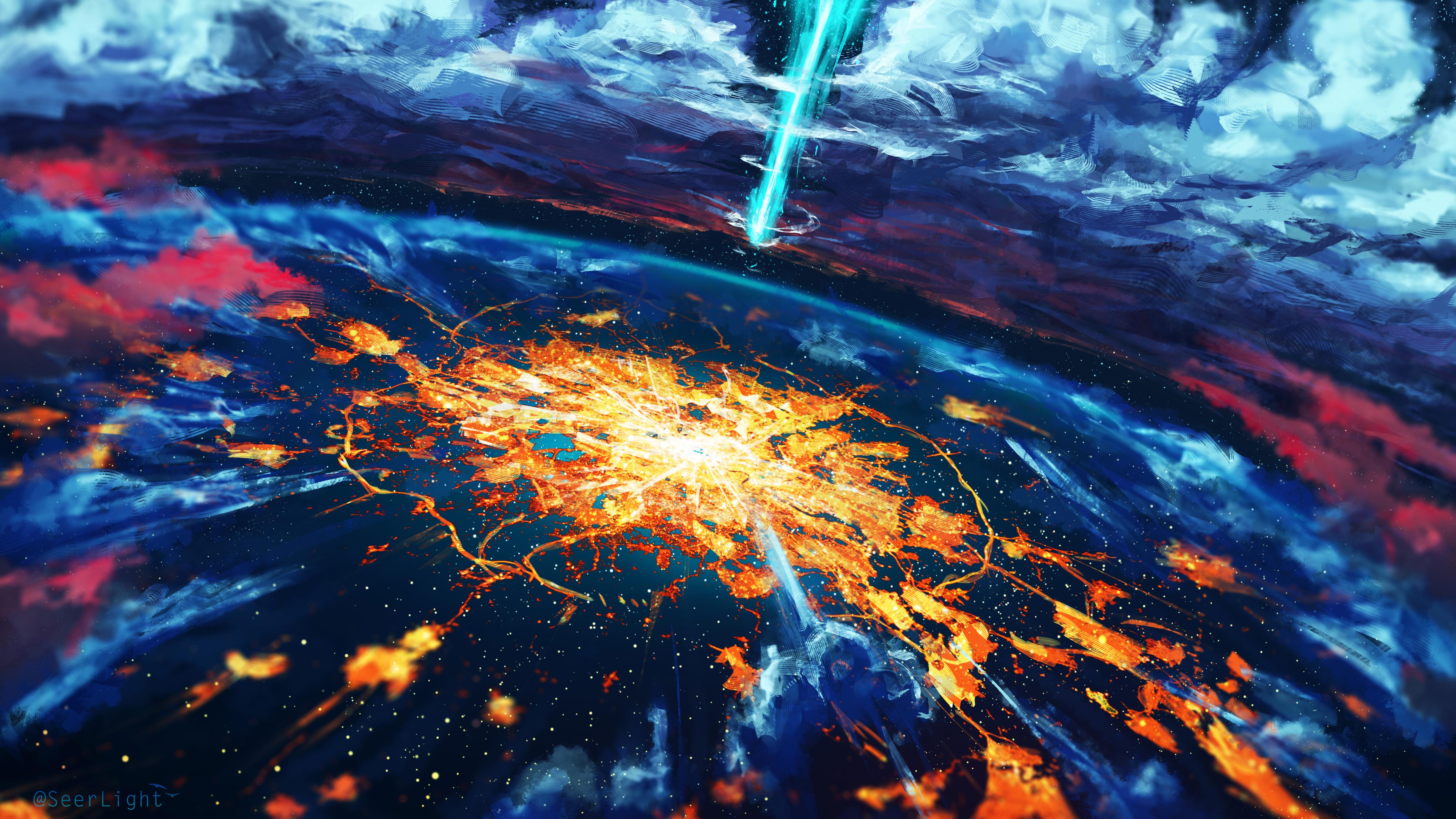 Apocalypse cosmos disaster explosion world hd artist 4k - Explosion wallpaper ...