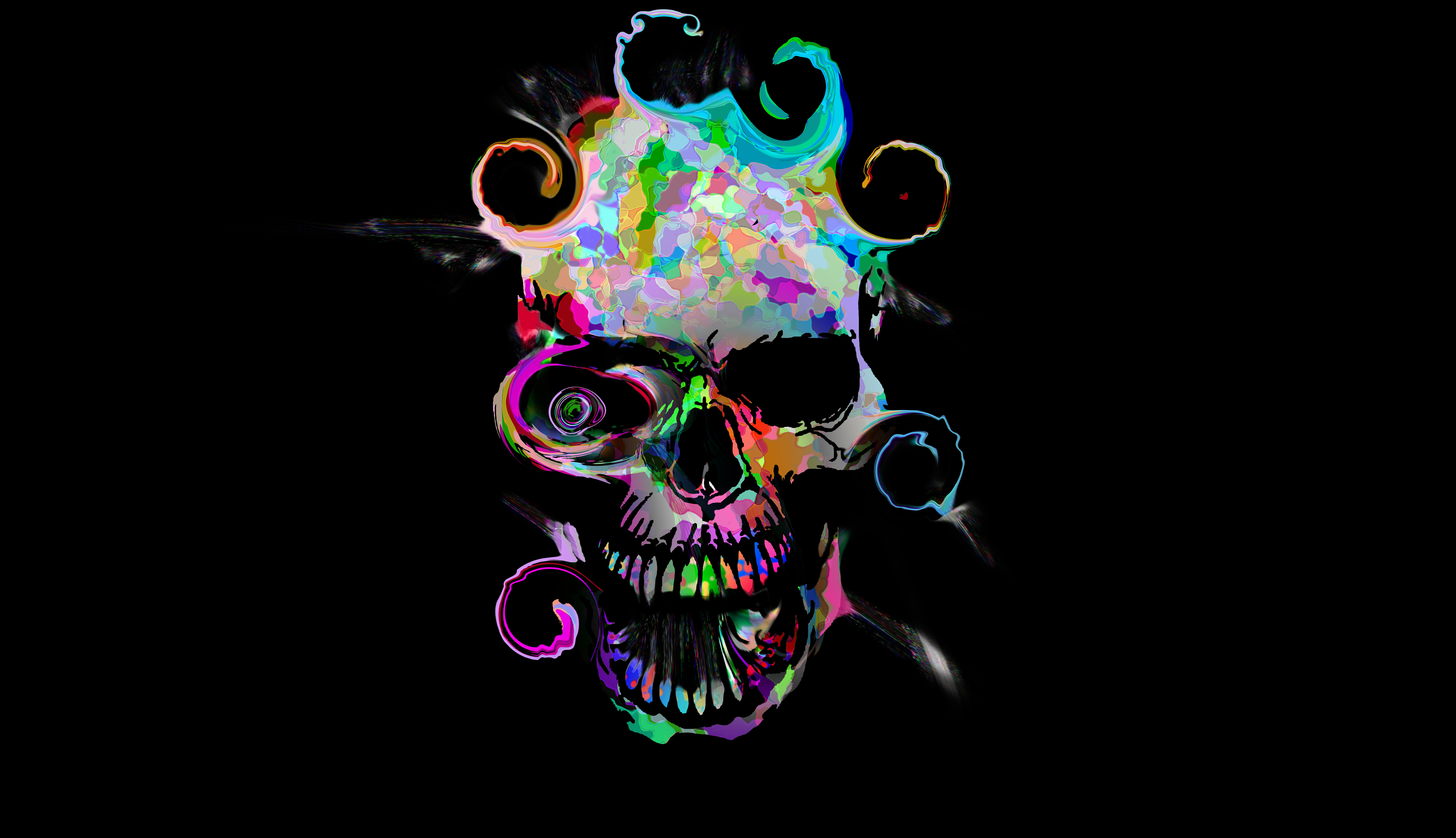 Artistic Colorful Skull, HD Artist, 4k Wallpapers, Images