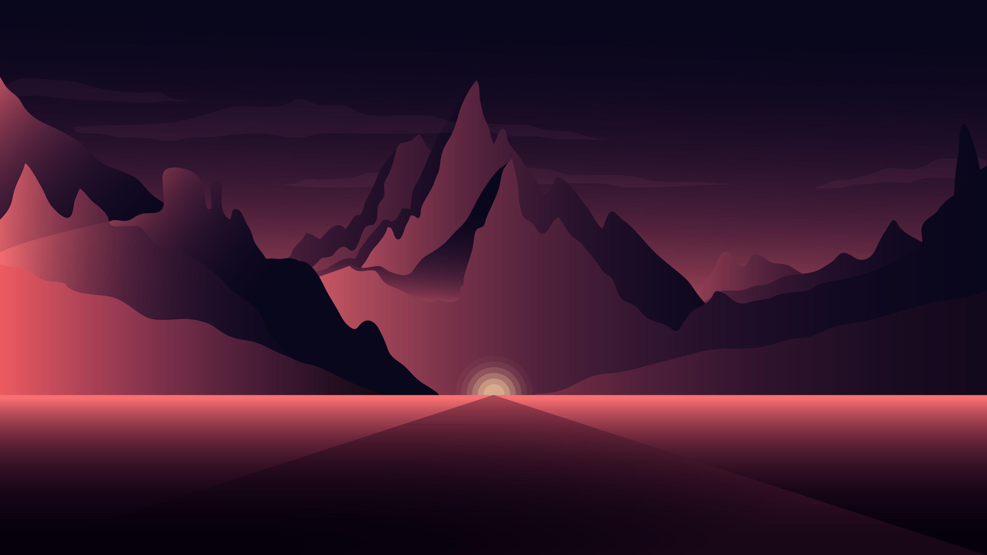 Artistic Horizon Mountain Purple Tree Minimalism, HD ...