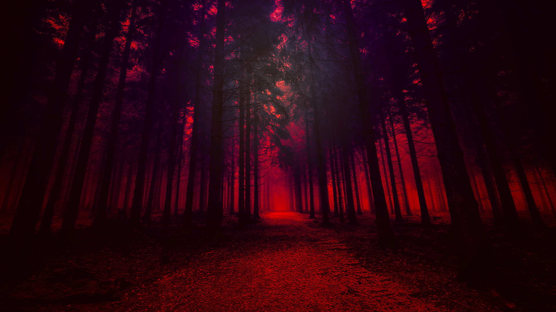 1920x1080 Artistic Red Forest Laptop Full Hd 1080p Hd 4k Wallpapers