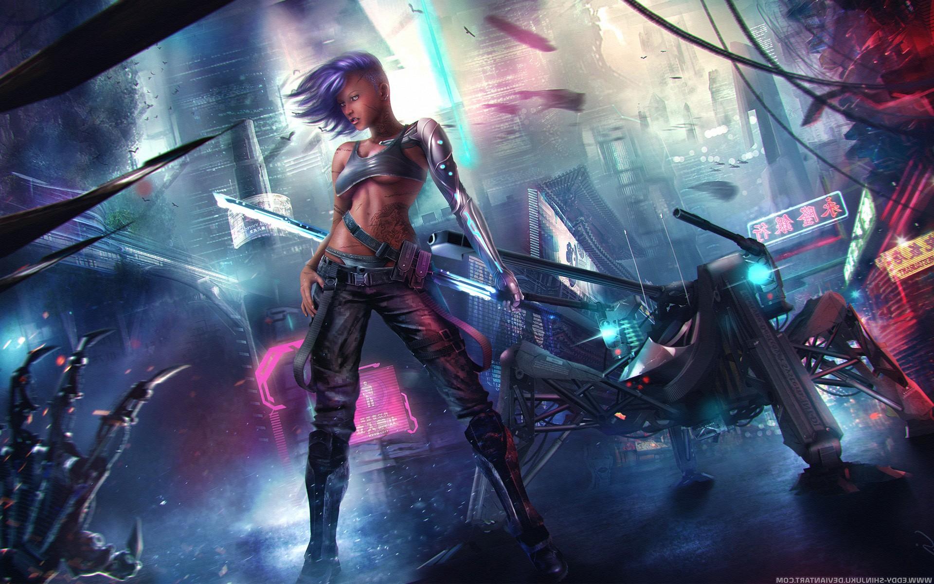 Women Warrior Artwork Sword Rain Cyberpunk Cyberpunk: Asian Cyberpunk, HD Fantasy Girls, 4k Wallpapers, Images
