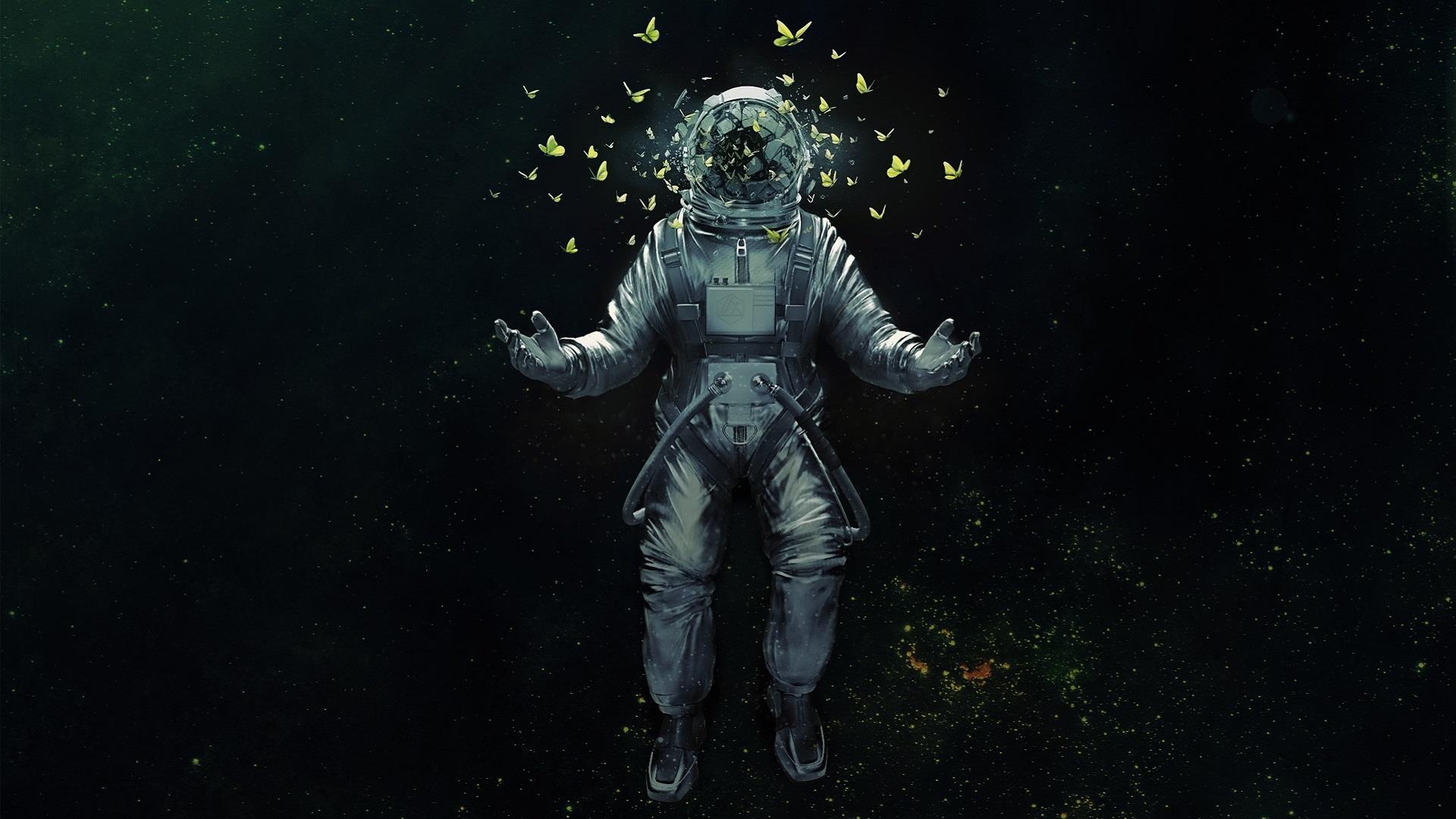 Space Demonic Art Hd Wallpaper: Astronaut Broken Glass Butterfly Space Suit, HD Artist, 4k