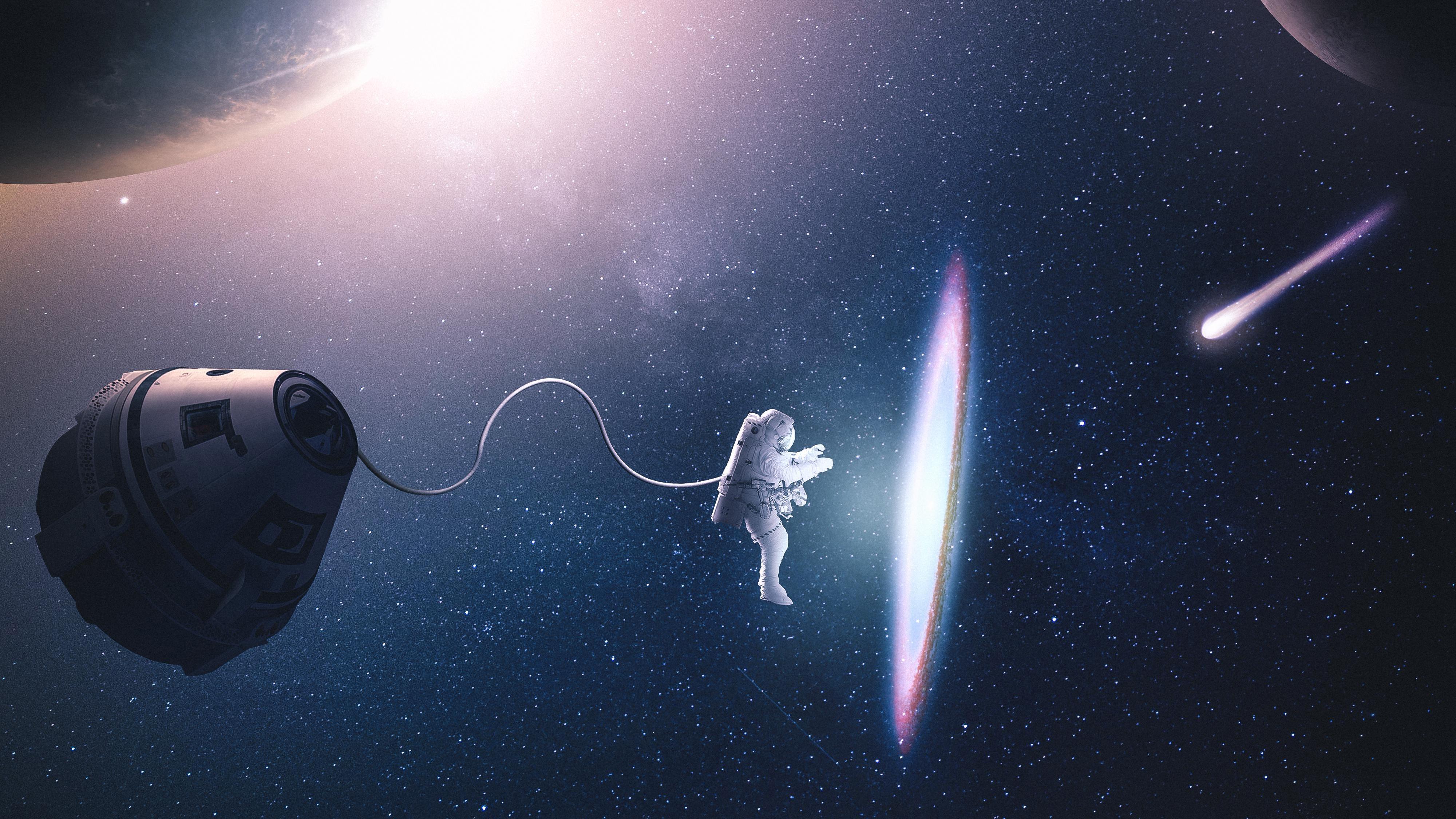 2560x1440 Astronaut Creating Parralel Space 4k 1440p