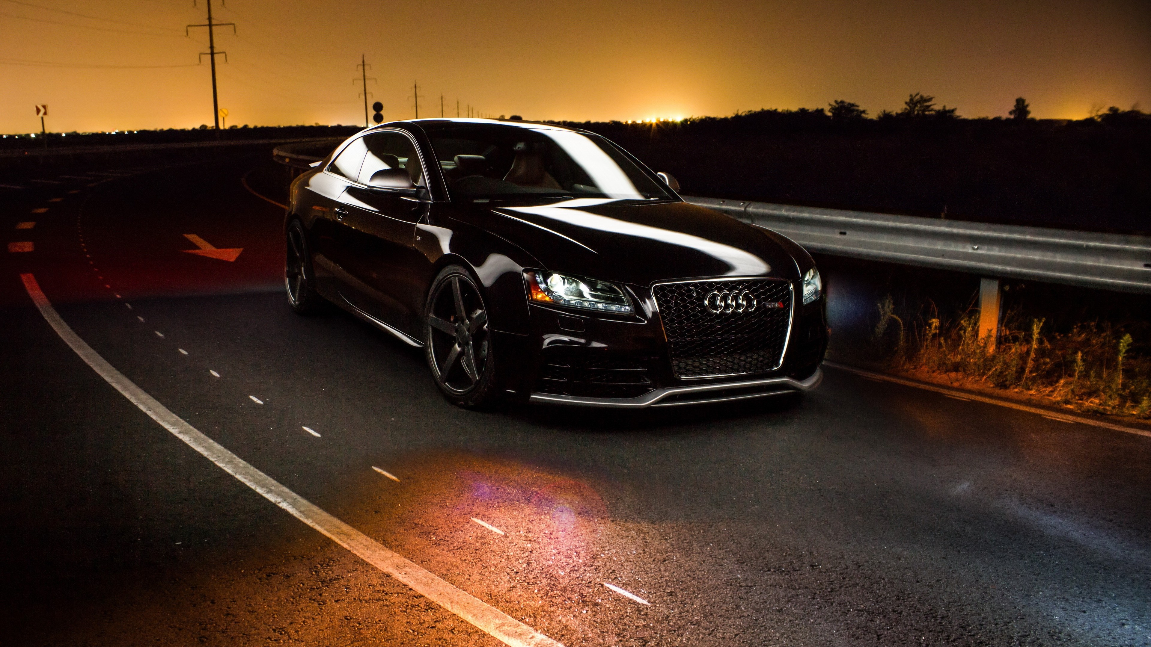 Audi Road Sunset HD Cars K Wallpapers Images Backgrounds - Sunset audi