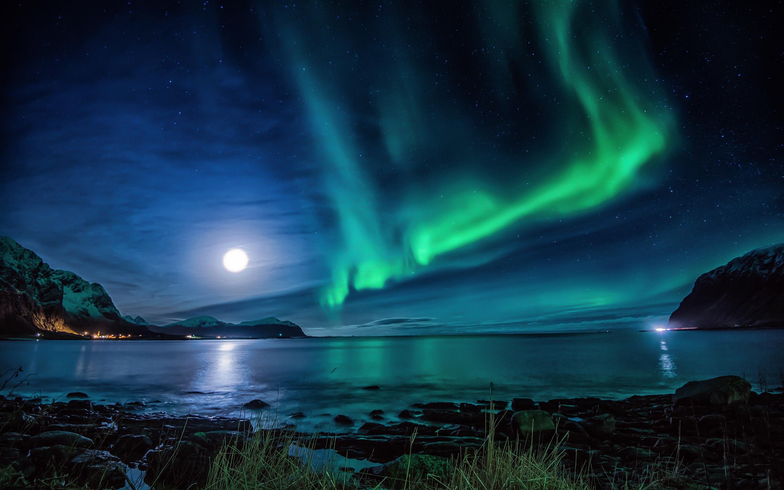 aurora borealis moon night hd nature 4k wallpapers