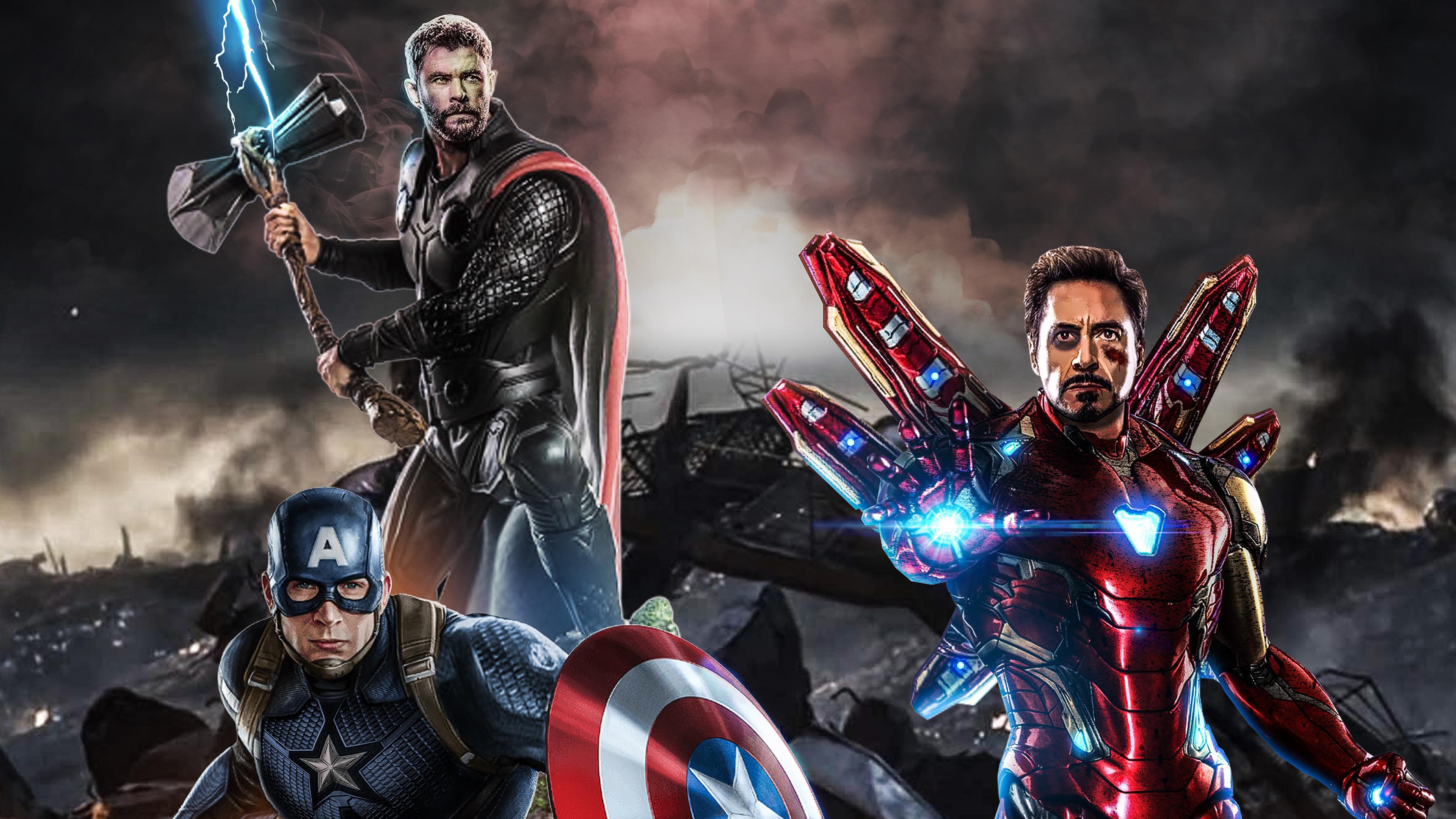 Avengers Endgame The Big Three Hd Superheroes 4k