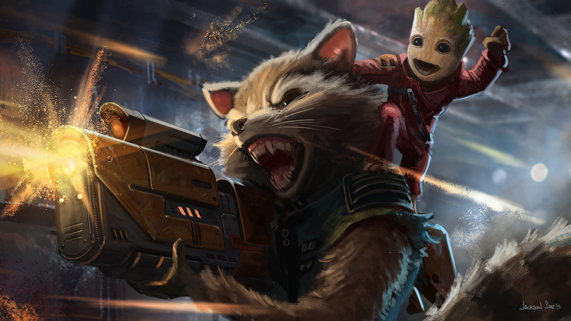 Baby Groot And Rocket Raccoon Artwork, HD Movies, 4k