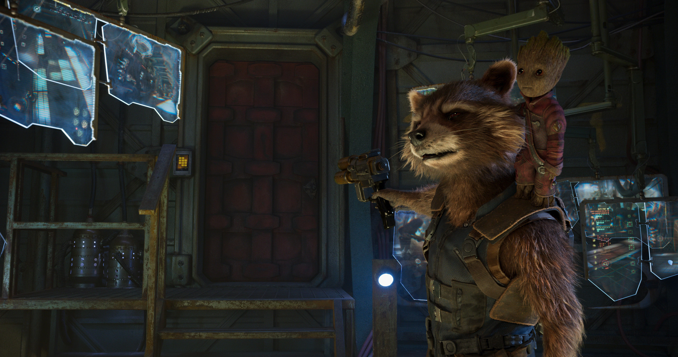 Baby Groot And Rocket Raccoon In Guardians Of The Galaxy