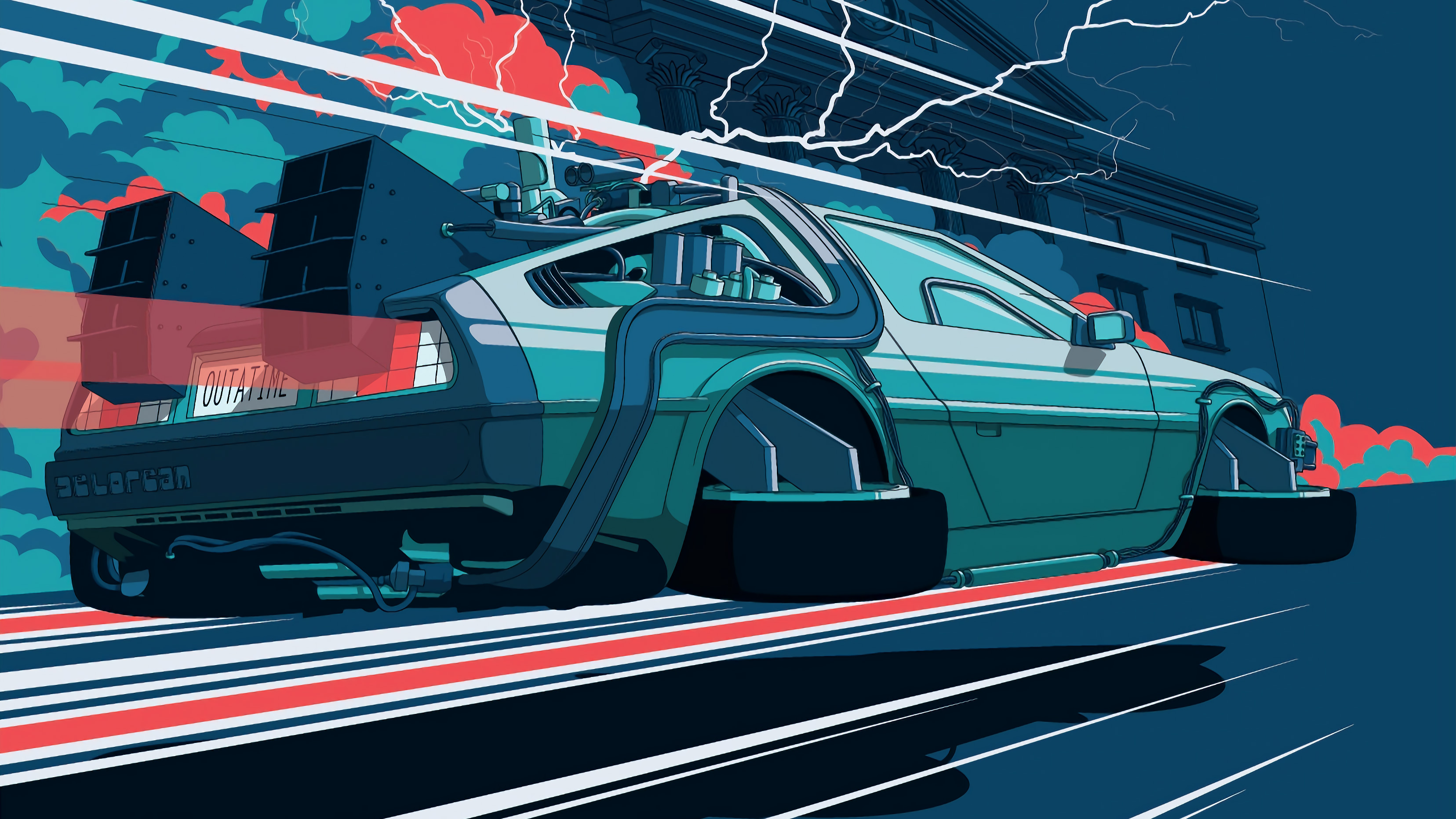 Back To The Future Car Illustration 4k Hd Artist 4k Wallpapers