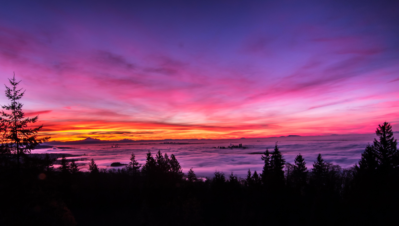 Backlit Bright Pink Sunset Landscape 5k