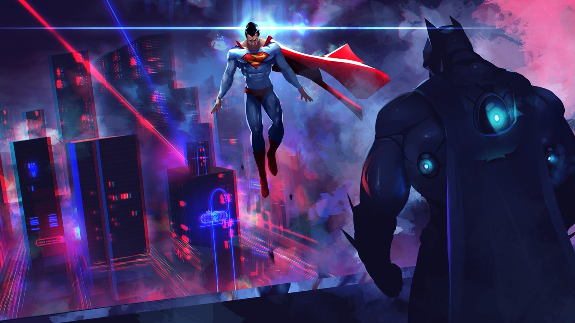 Batman Vs Superman Neon Lights Artwork