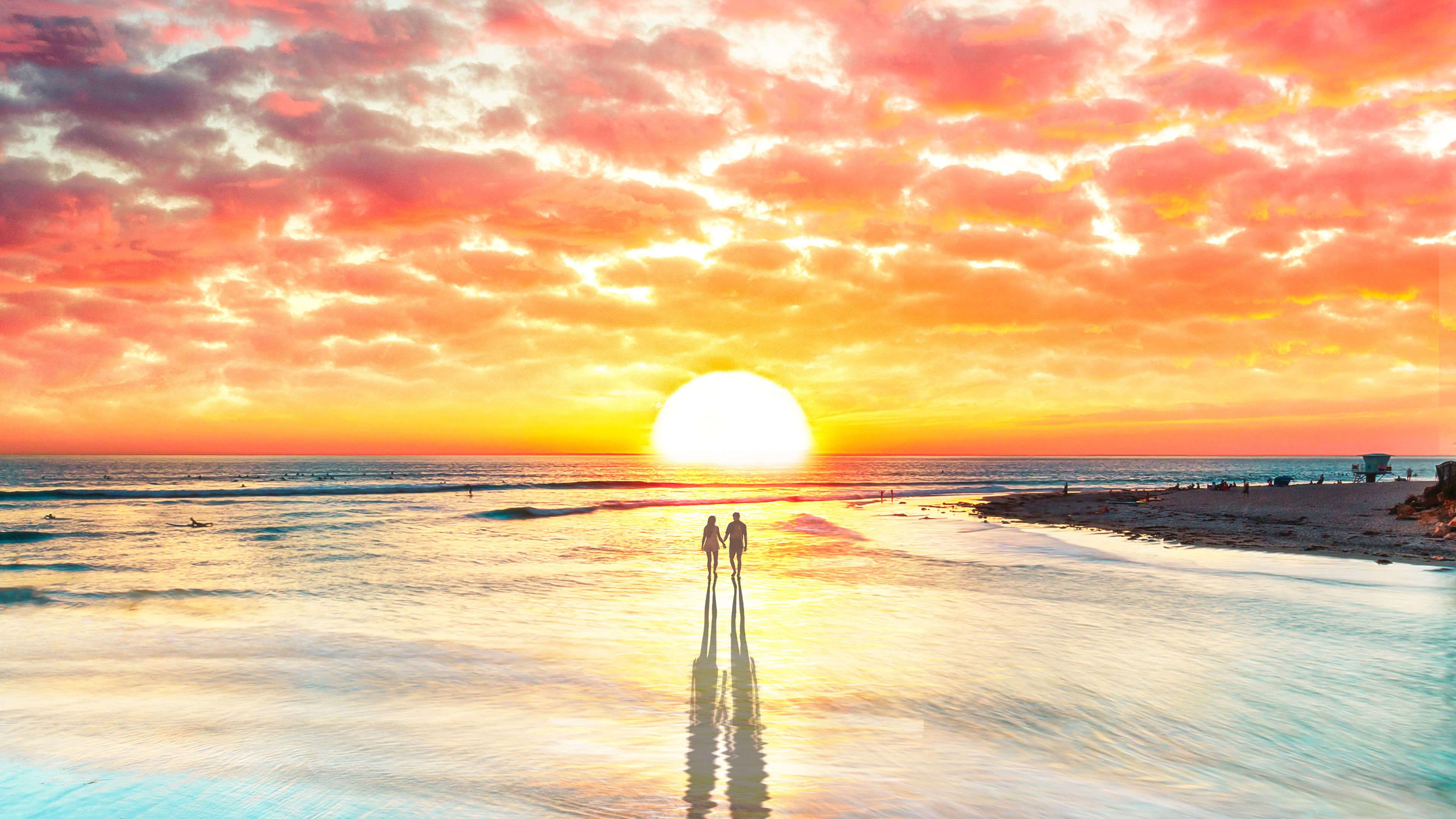 Beach Couple Watching Sunset 4k, HD Artist, 4k Wallpapers ...