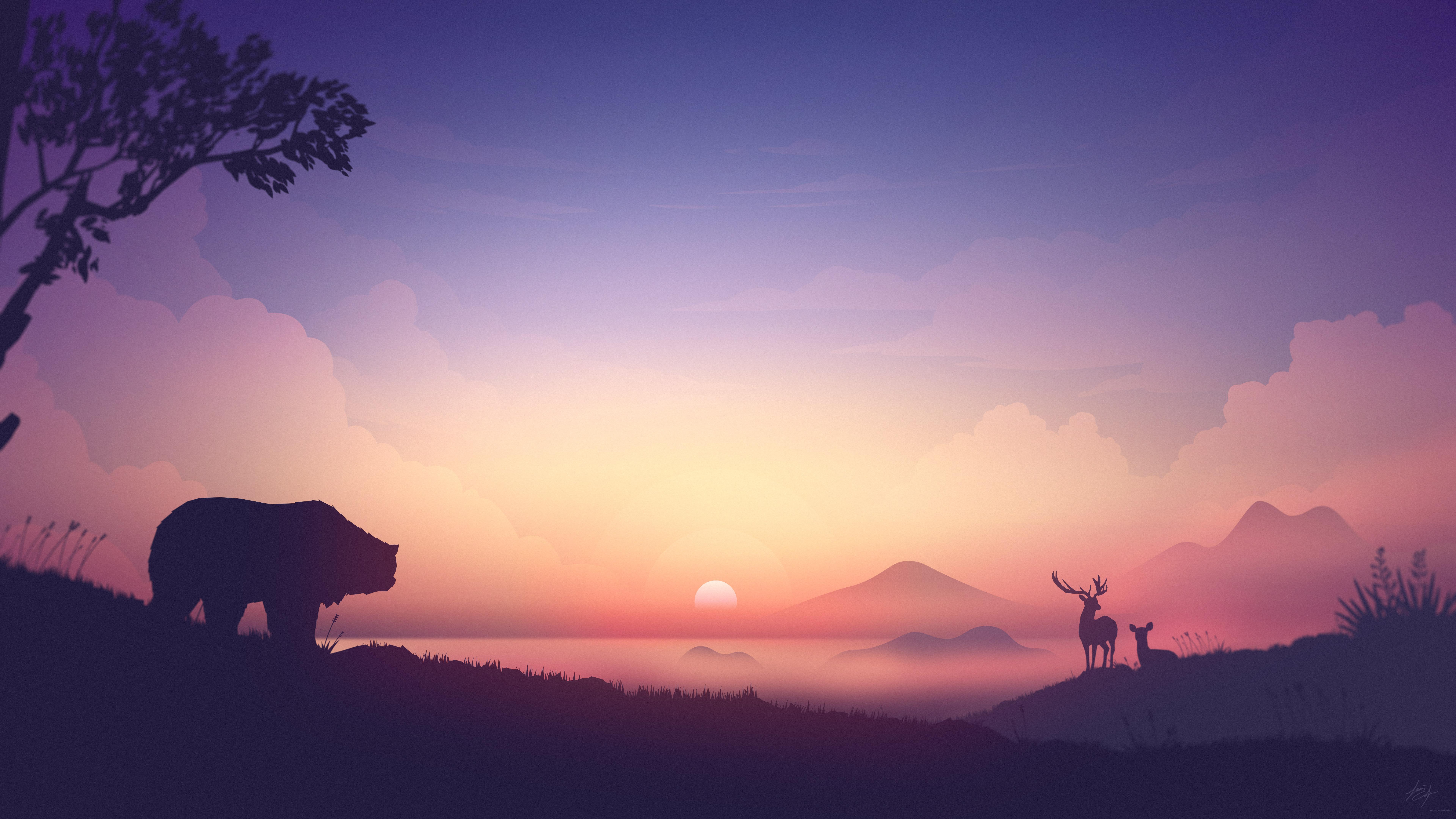 Bear Deer Mountains Sunrise Minimalism Artwork 8k Hd Artist 4k